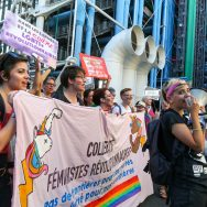 Several thousands of people demonstrate in Le Marais in Paris on the evening of June 23, 2017, on the eve of Paris Gay Pride.This Night Pride was organized by associations like Femmes en Lutte 93, Act-Up Paris or Strass, and denounces the lack of involveme