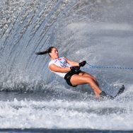 2017 IWWF World Waterski Championships. A woman competes during the women's slalom final match of the 2017 IWWF World Water Ski Championships on September 10, 2017 in Choisy-le-Roi, near Paris, France.