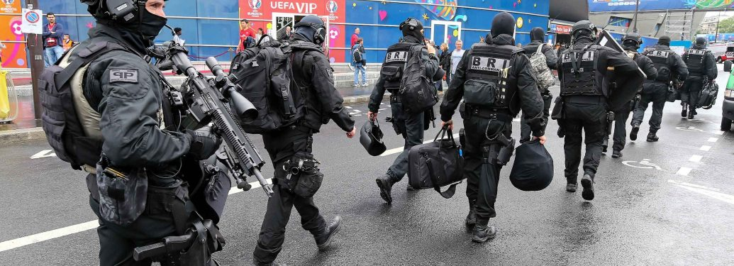 France. Paris. The Brigade of Research and Intervention (BRI) arrives at the Parc des Princes June 12, 2016, during the UEFA EURO 2016 match between Turquey and Croatia.