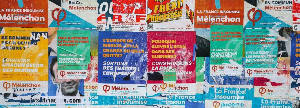 France. Paris. 22 avril 2017. Affiches de campagne des différents candidats à l'élection présidentielle, qui envahissent les murs de la capitale à la veille du 1er tour de scrutin.