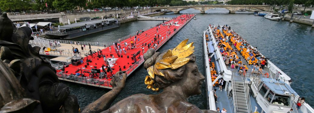 Floating athletics track install on the Seine River for the Olympics days for Paris 2024 Summer Olympics Games candidacy in Paris, France on June 24, 2017. On the 23rd and 24th of June, the heart of Paris has been transformed into a gigantic sports park to