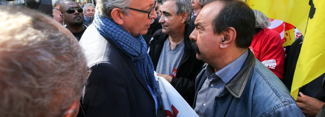French Communist Party (PCF) national secretary Pierre Laurent (Center Left) meets Philippe Martinez (Center Right), Secretary General of the General Confederation of Labour attends a national demonstration against the French government labor reforms in Pa