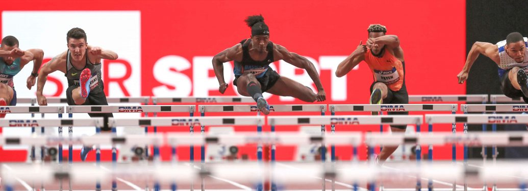 From left to right : Atmane Hadj Lazib of Algeria, Dawid  Zebrowski of Poland, Jarret Eaton of USA, Ludovic Payen of France, Loic Desbonnes of France compete in 60m Hurdles during the Athletics Indoor Meeting of Paris 2018, at AccorHotels Arena (Bercy) in
