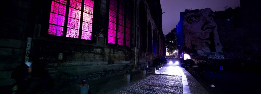 An installation in the Saint-Merri church during the White Night 2017 in Paris on october 7, 2017. Each first Saturday in October, this event invites to see the city in a different way, at night, lit by neons and other lights. In all parts of the city, art