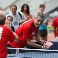 Jean-Philippe Gatien au Stade de France pour la promotion du ping pong