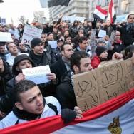 Manifestation contre Hosni Moubarak à Belleville, dans le 20ème arrondissement de Paris