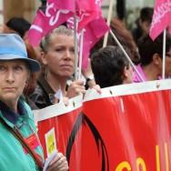 Rassemblement contre les violences faites aux femmes devant le ministère de la Justice, à Paris
