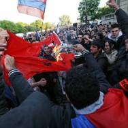 Commémoration du 97ème anniversaire du génocide arménien sur les Champs Elysées, à Paris