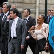 Valls, Taubira, Le Foll, Arif et Batho se rendent à leur premier conseil des ministres