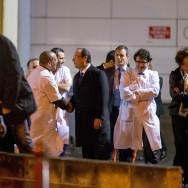 Hollande en visite à l'hôpital Lariboisière pour la Saint-Sylvestre