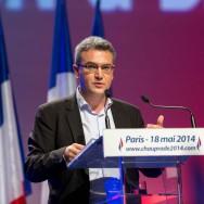 Paris :  meeting de campagne d'Aymeric Chauprade, tête de liste  FN en Ile-de-France