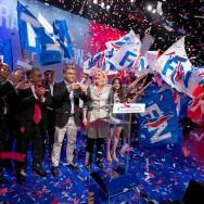 Paris :  Marine Le Pen vient soutenir Aymeric Chauprade, tête de liste  FN en Ile-de-France