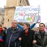 Paris : manifestation de soutien au peuple et au gouvernement grecs