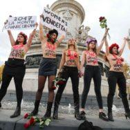 Manifestation à Paris contre les violences faites aux femmes.