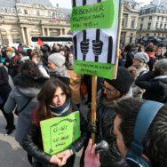 Protestation devant le Conseil d'Etat contre la loi Asile et immigration.