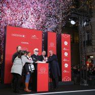 Karl Lagerfeld inaugure les illuminations de Noël des Champs-Élysées.