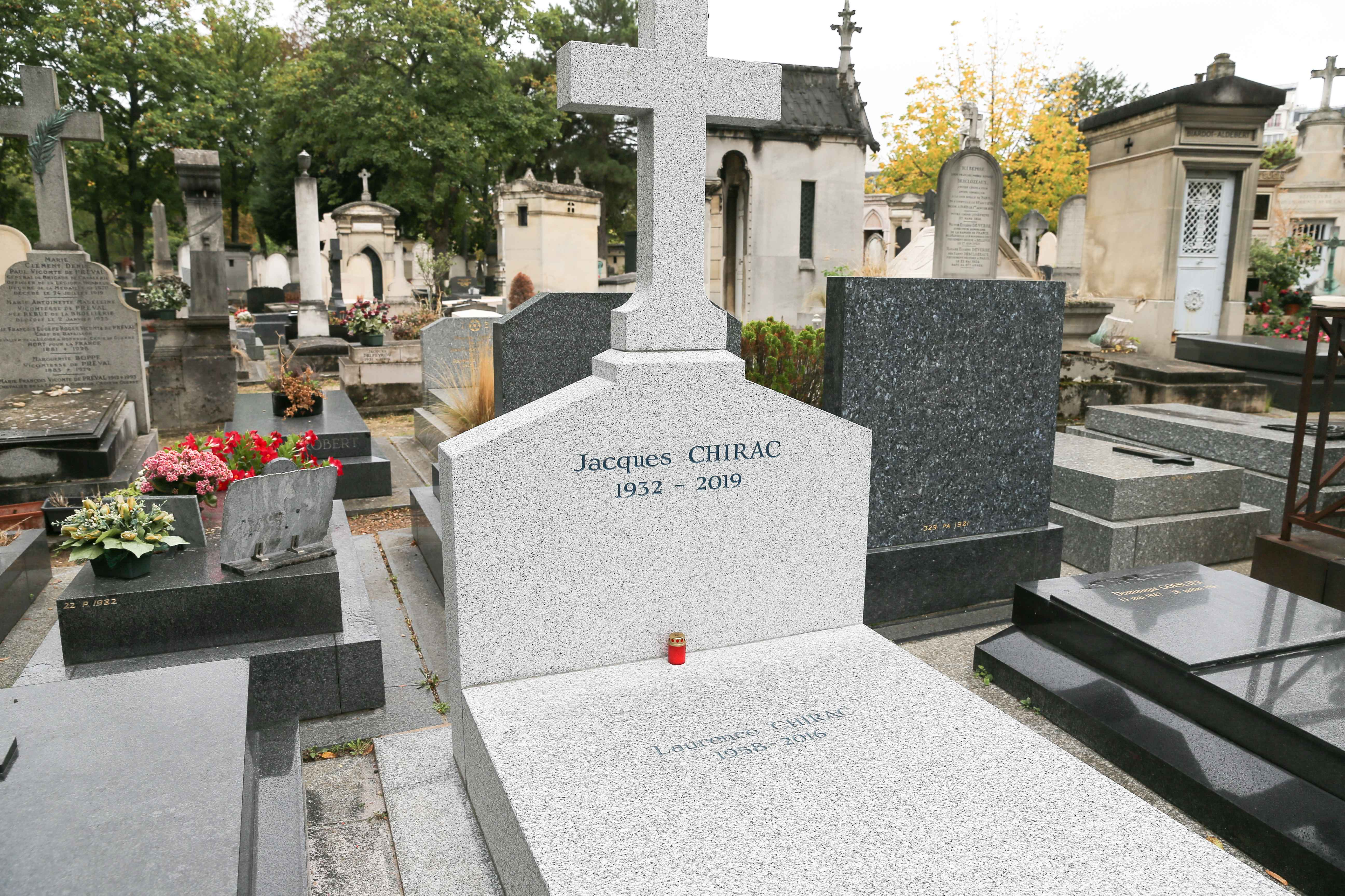 This photograph taken at The Montparnasse Cemetery in Paris on September 27, 2019, shows the gravestone where former French President Jacques Chirac will be buried next to his daughter Laurence after his funeral which is scheduled for September 30. Jacques