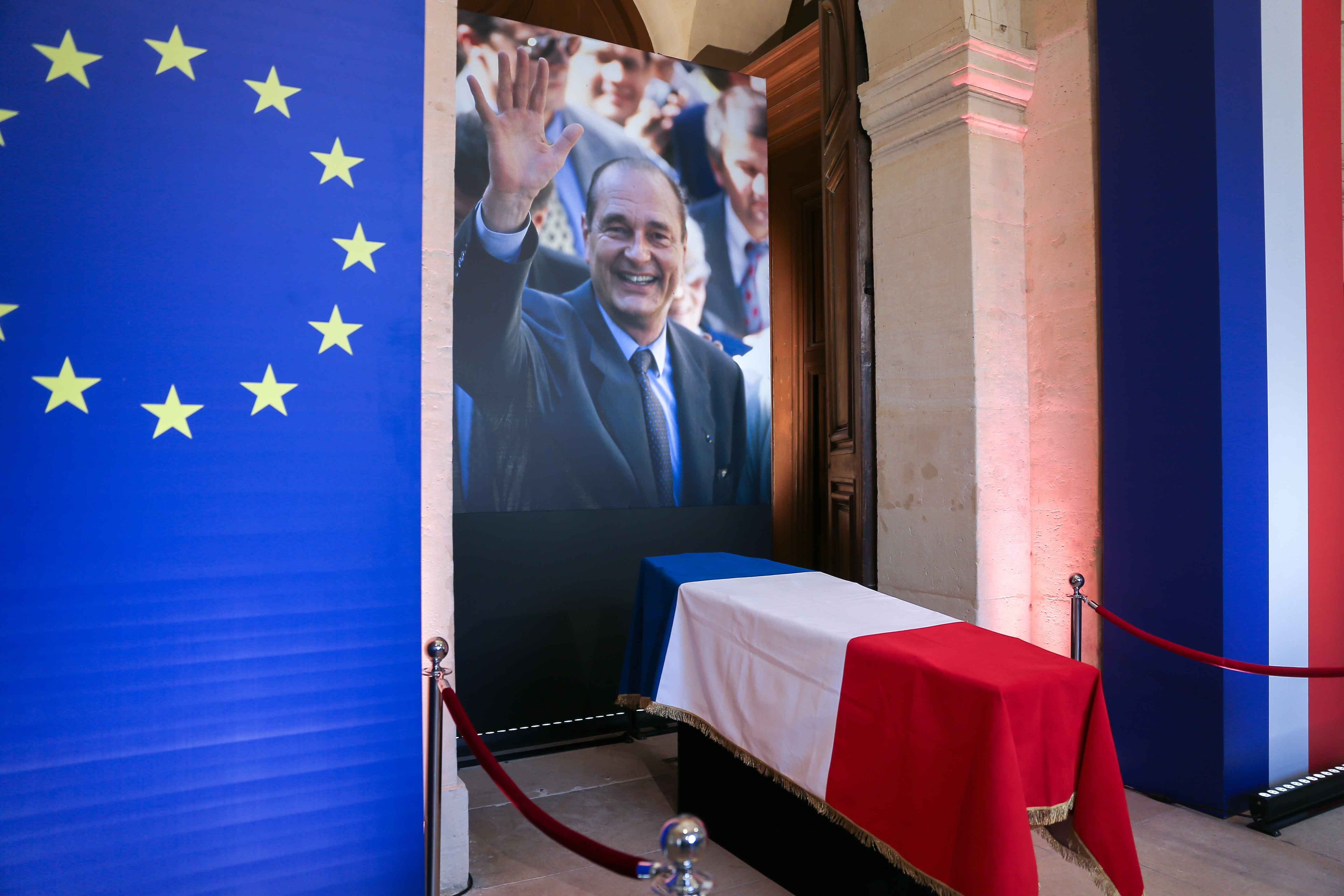 The coffin of late French President Jacques Chirac lies in state at the Saint-Louis-des-Invalides cathedral at the Invalides memorial complex in central Paris on September 29, 2019. Jacques Chirac died on September 26 at the age of 86 after a long battle w