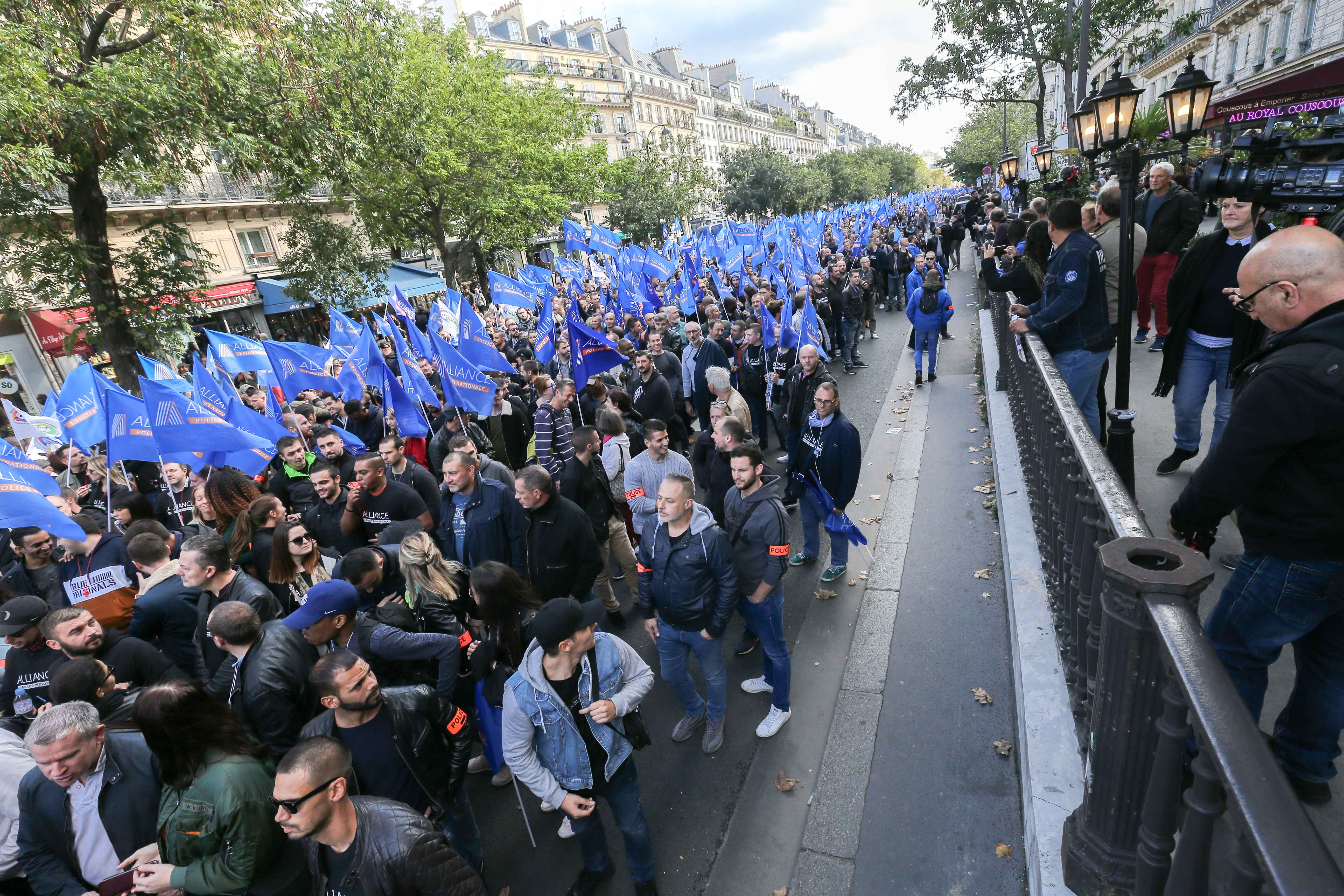 """At the call of the National Police unions, several thousand police officers demonstrated in Place de la Bastille on 2 October 2019 in Paris. For the first time in 20 years, all unions have called for a """"March of Wrath"""" while 50 police officers have killed"""