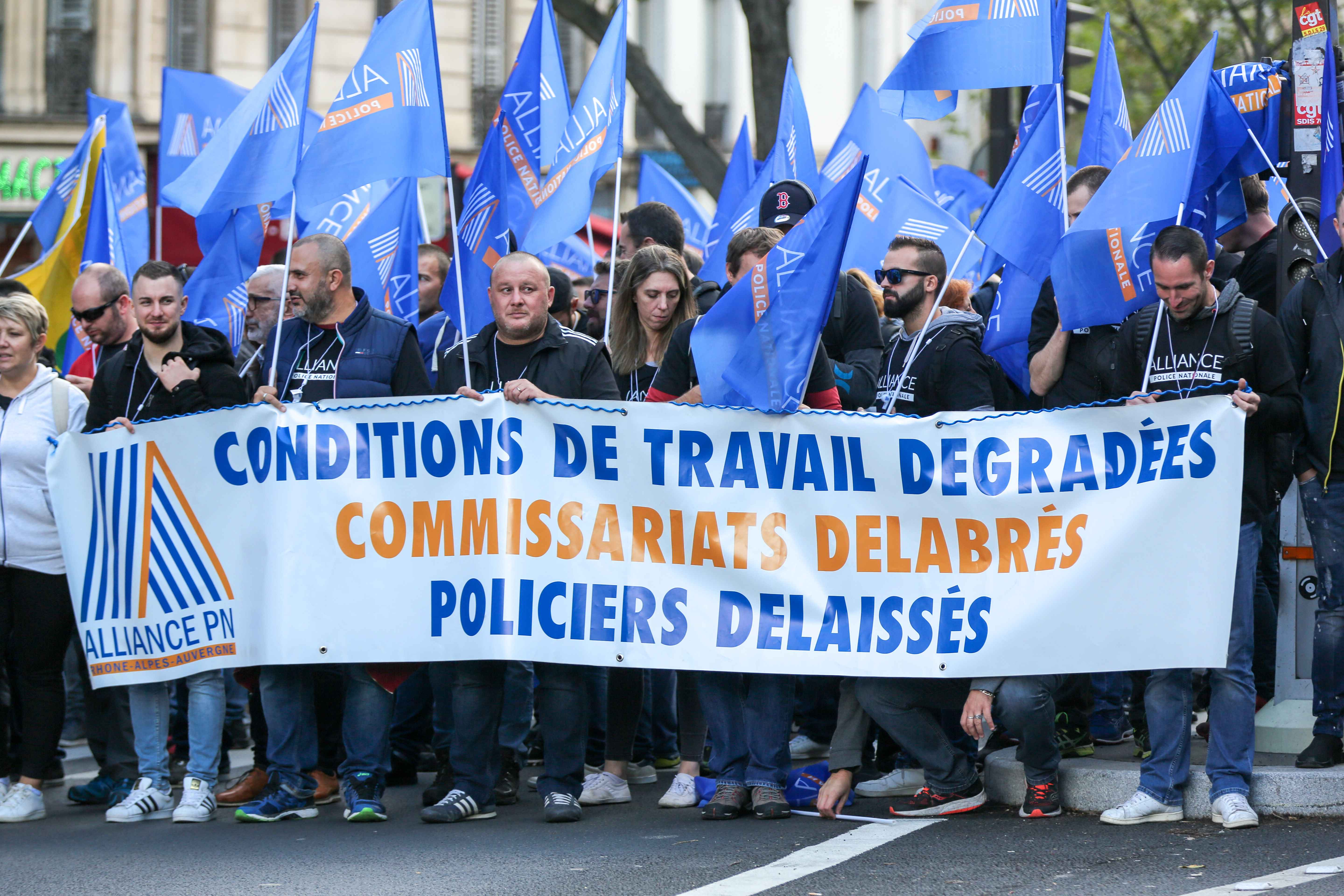 "At the call of the National Police unions, several thousand police officers demonstrated in Place de la Bastille on 2 October 2019 in Paris. For the first time in 20 years, all unions have called for a ""March of Wrath"" while 50 police officers have killed"