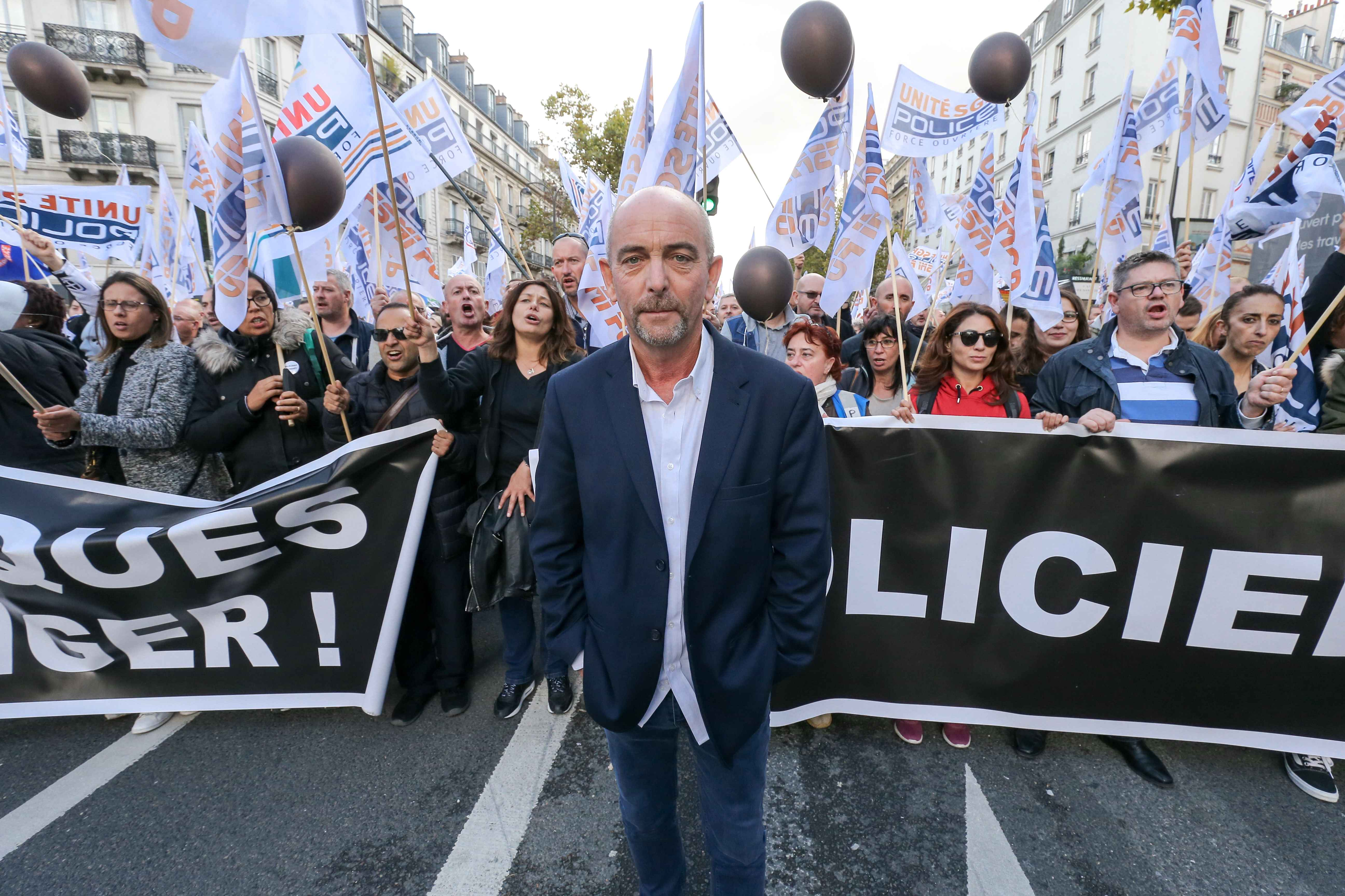 Yves Lefebvre (C), general secretary of the Unite SGP-Police union, the ''Walk of Wrath'' of the Policemen in Paris on October 2, 2019. At the call of the National Police unions, several thousand police officers demonstrated in Place de la Bastille on 2 Oc