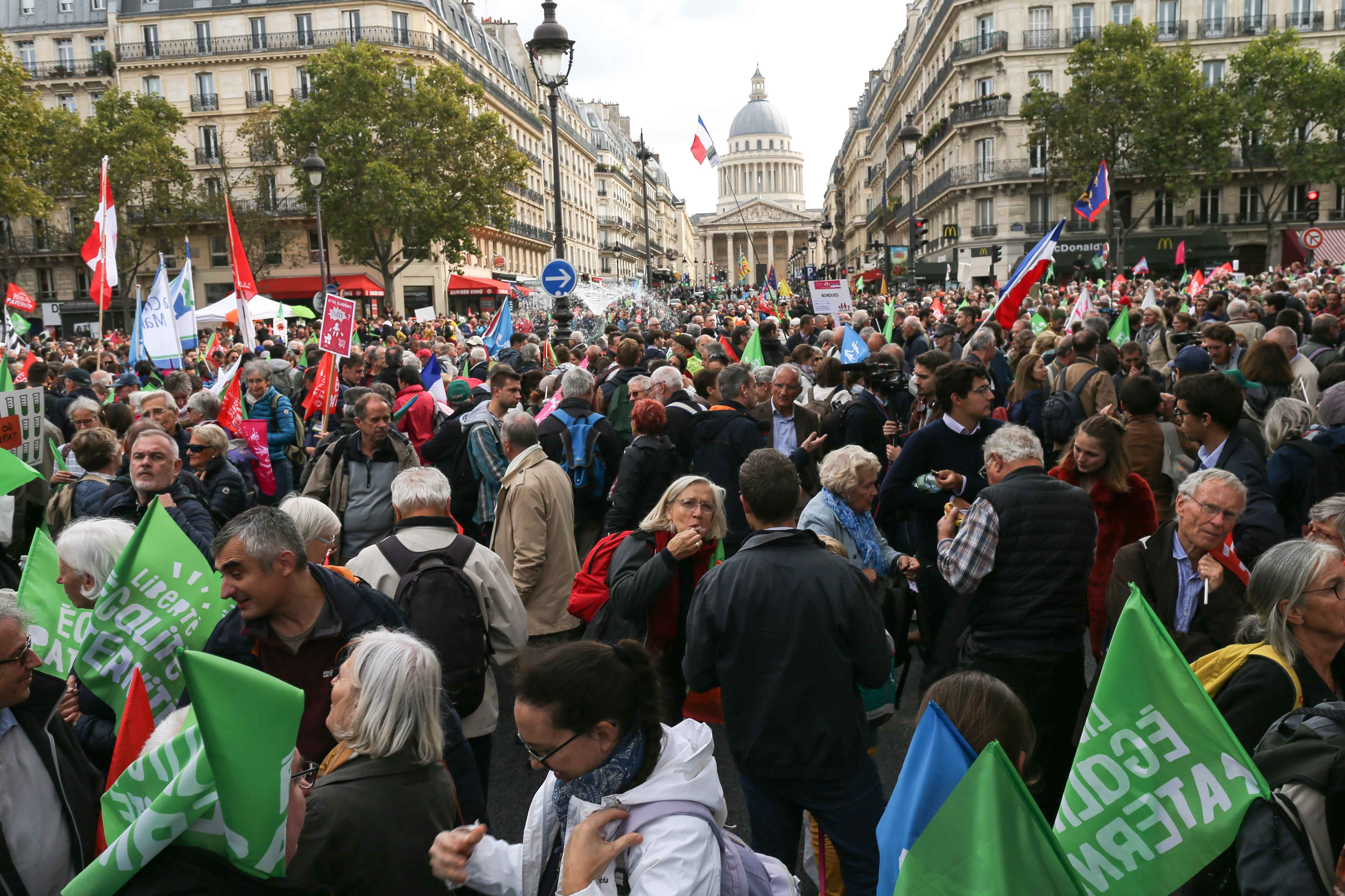 Several tens of thousands people take part in a protest against a government plan to let single women and lesbians become pregnant with fertility treatments, on October 6, 2019 in Paris. The French National Assembly on September 26, 2019 voted in favor of