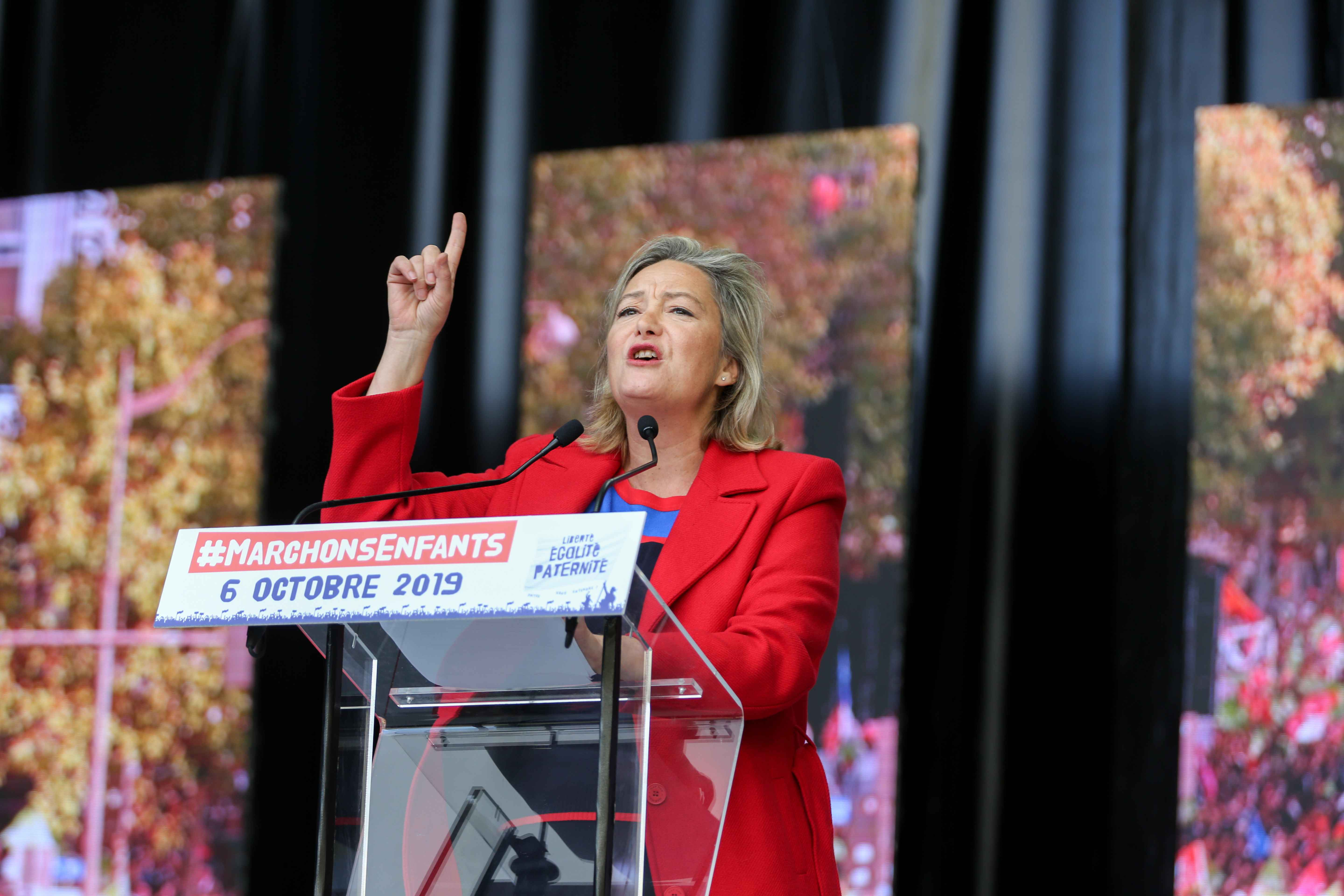 "President of the anti-gay marriage movement ""La Manif Pour Tous"" (Protest for Everyone) Ludovine de la Rochere speaks during a protest against a government plan to let single women and lesbians become pregnant with fertility treatments, on October 6, 2019"