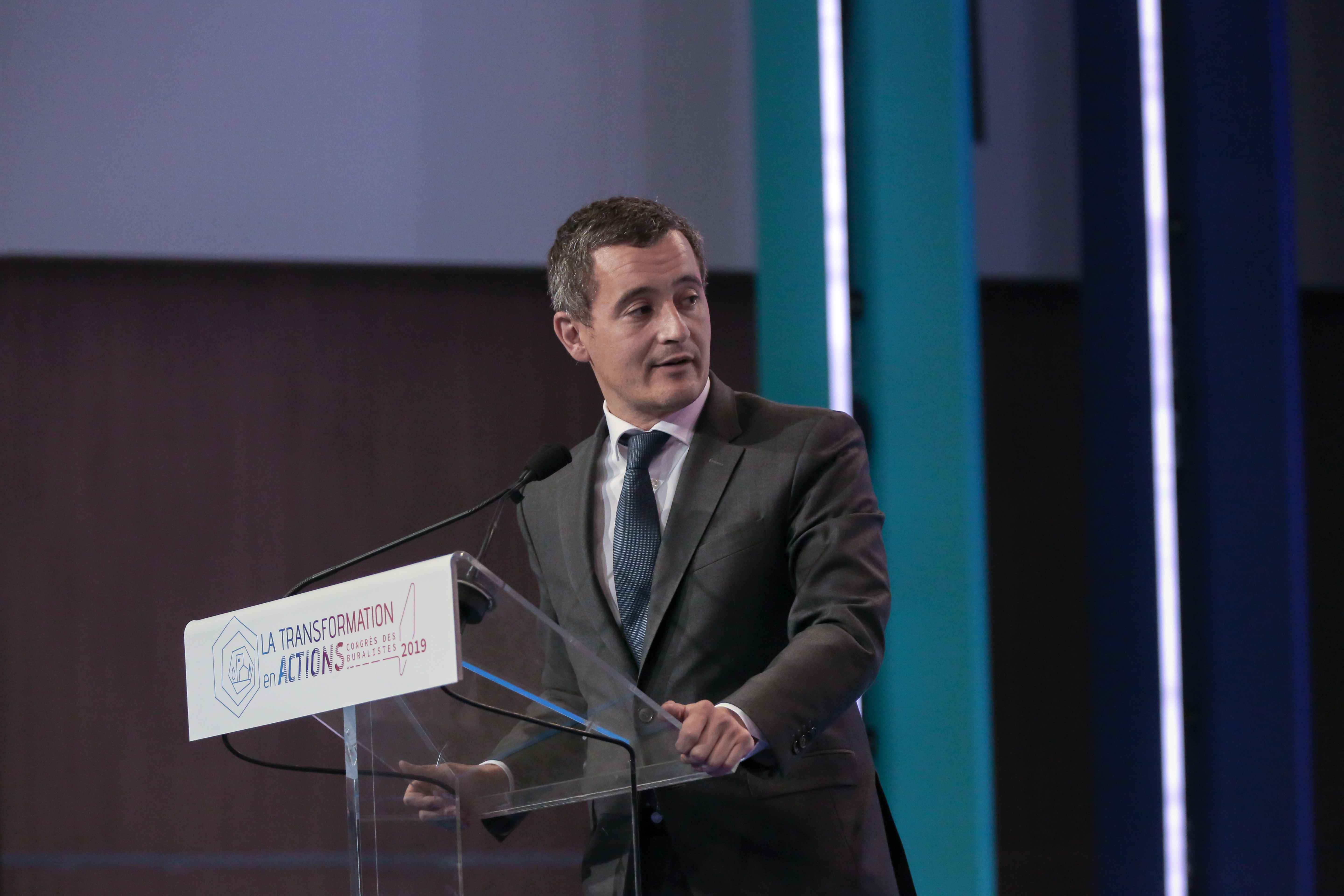 French Minister for Public Action and Accounts Gerald Darmanin adresses tobacconists  during the Congress of the National Tobacconists Confederation in Paris, on October 10, 2019. In the last few years, the increase in the price of tobacco has been devasta