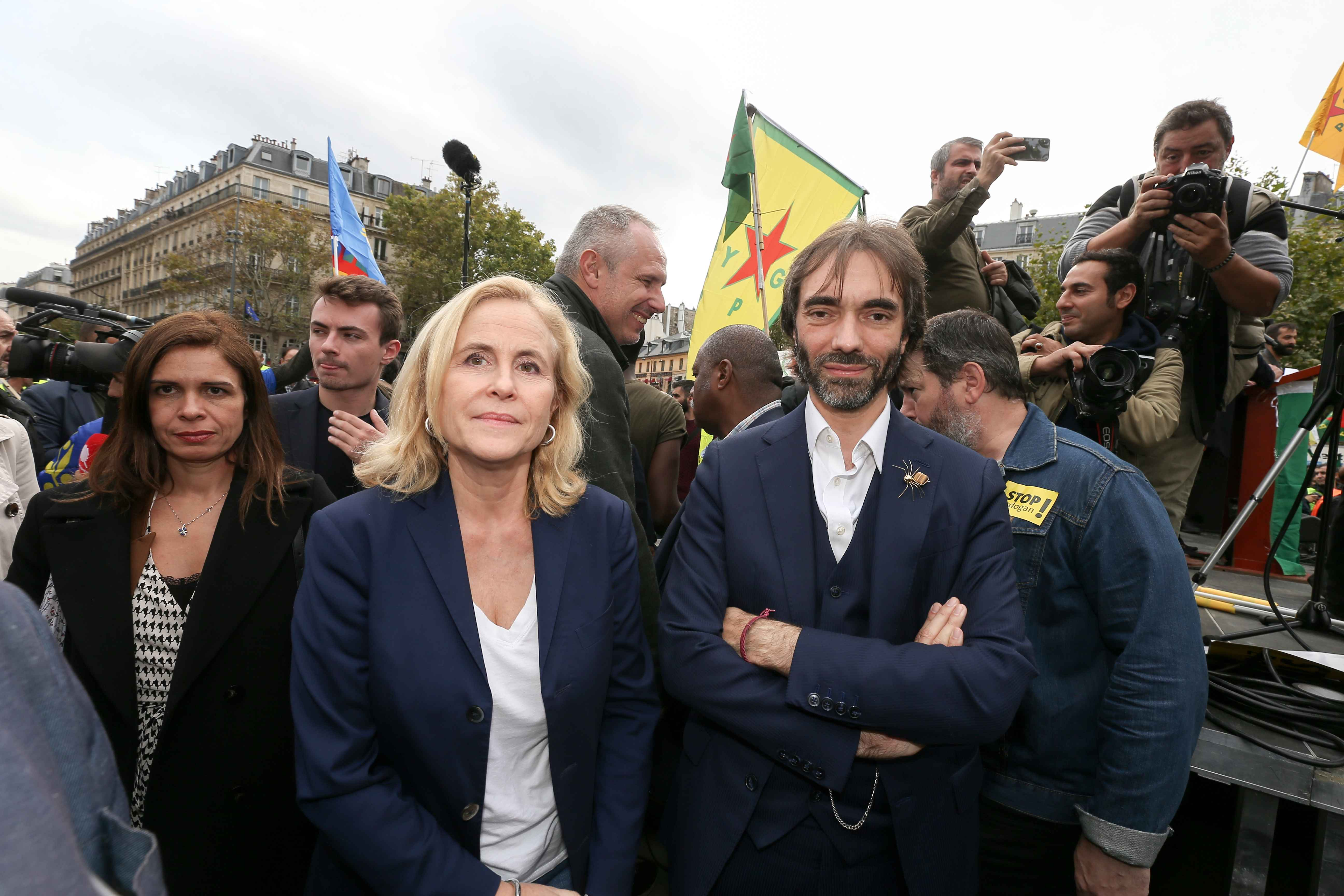 French member of Parliament and candidate for Paris' mayoral election, mathematician Cedric Villani (CR) takes part on October 12, 2019 in Paris in a demonstration in support of the Kurds and against the Turkish offensive in Syria. On October 9, 2019, the