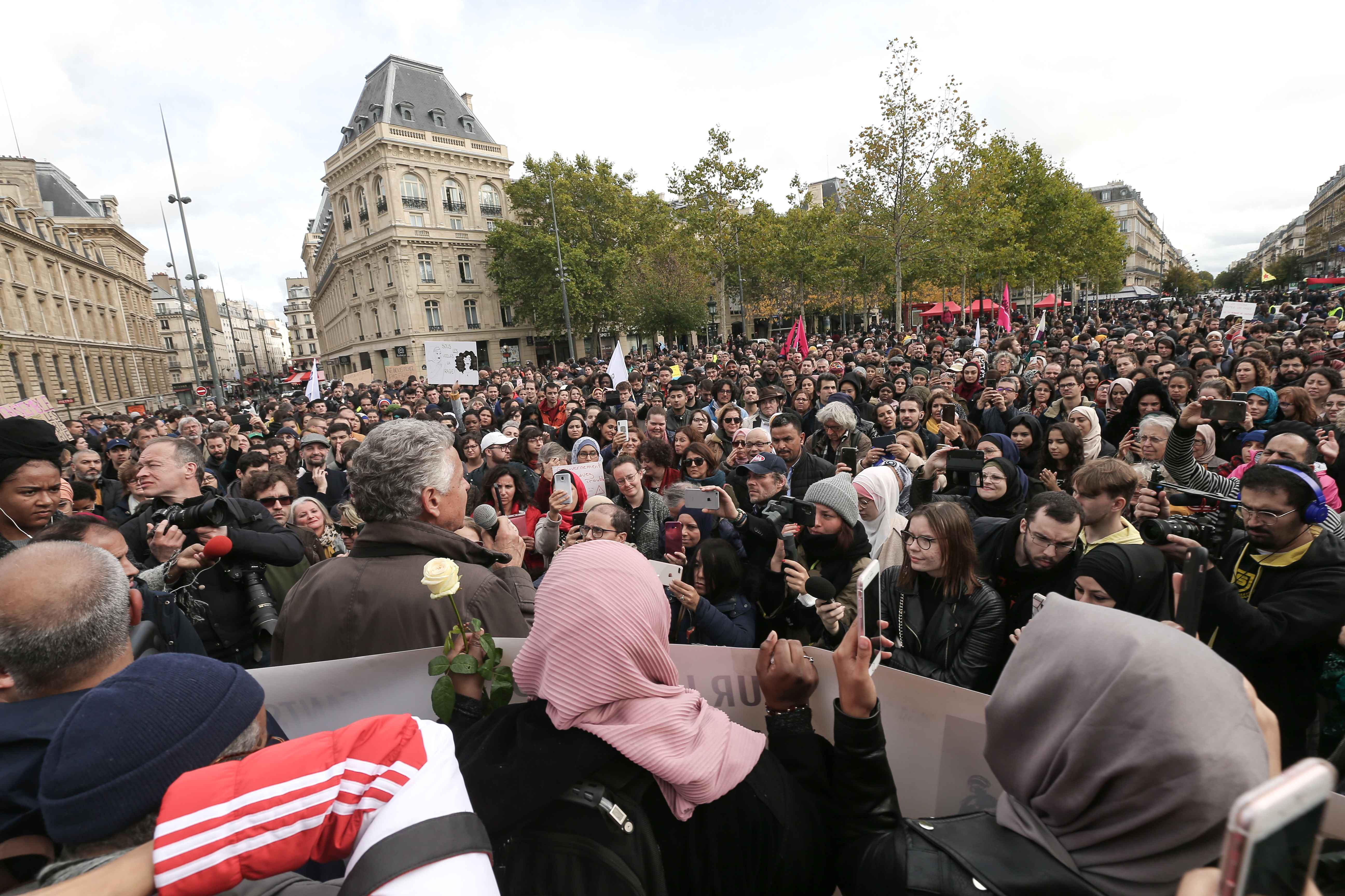 People demonstrate against Islamophobia on October 19, 2019 on the place de la Republique in Paris. A new row over secularism and the wearing of the Islamic hijab in public buildings has erupted in France after a far-right politician asked a woman accompan