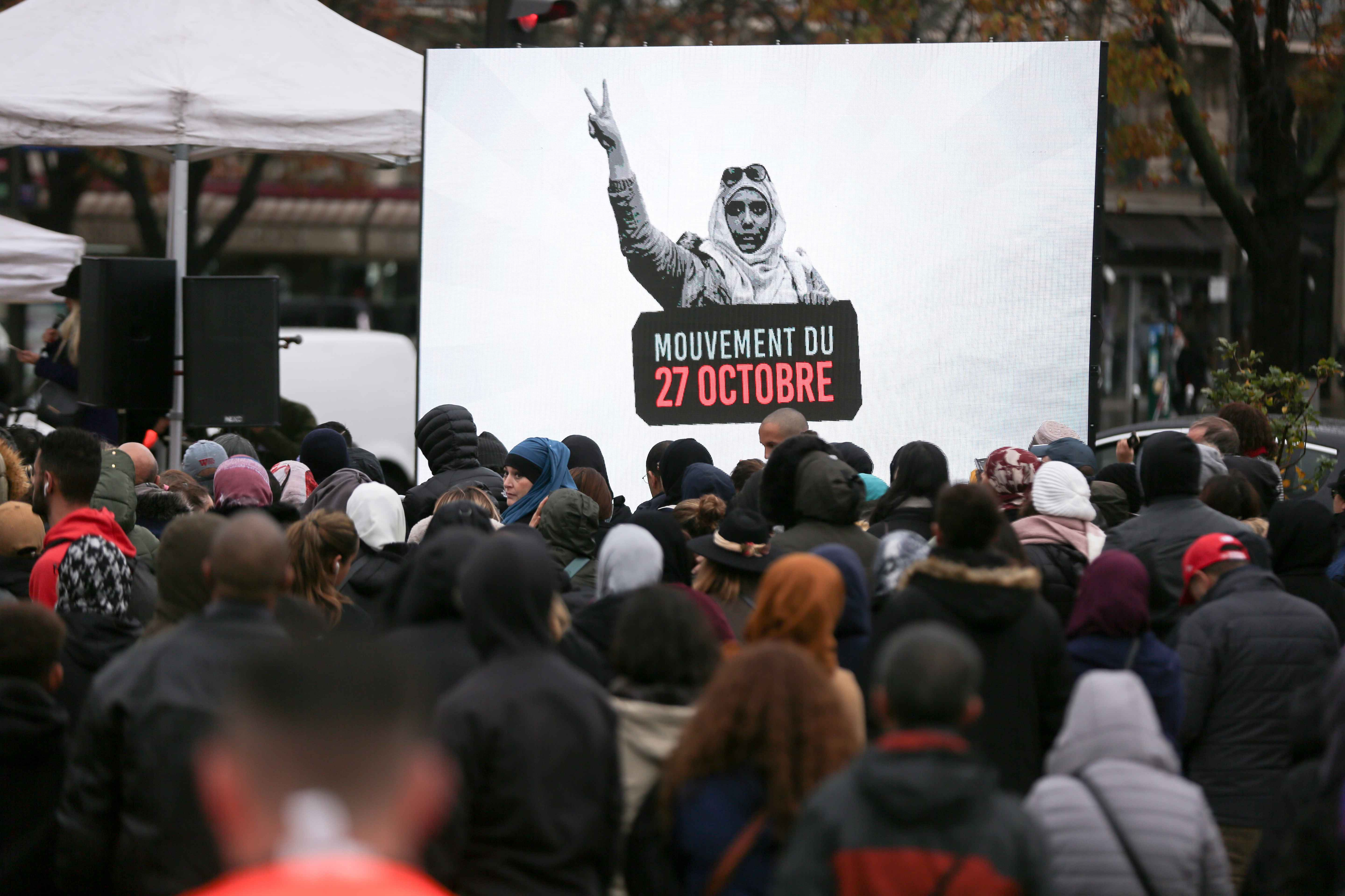 People gather place de la Nation, one of the Paris' major crossroad on October 27, 2019, to protest against Islamophobia and media bias in France. A new row over secularism and the wearing of the Islamic hijab in public buildings has erupted in France af