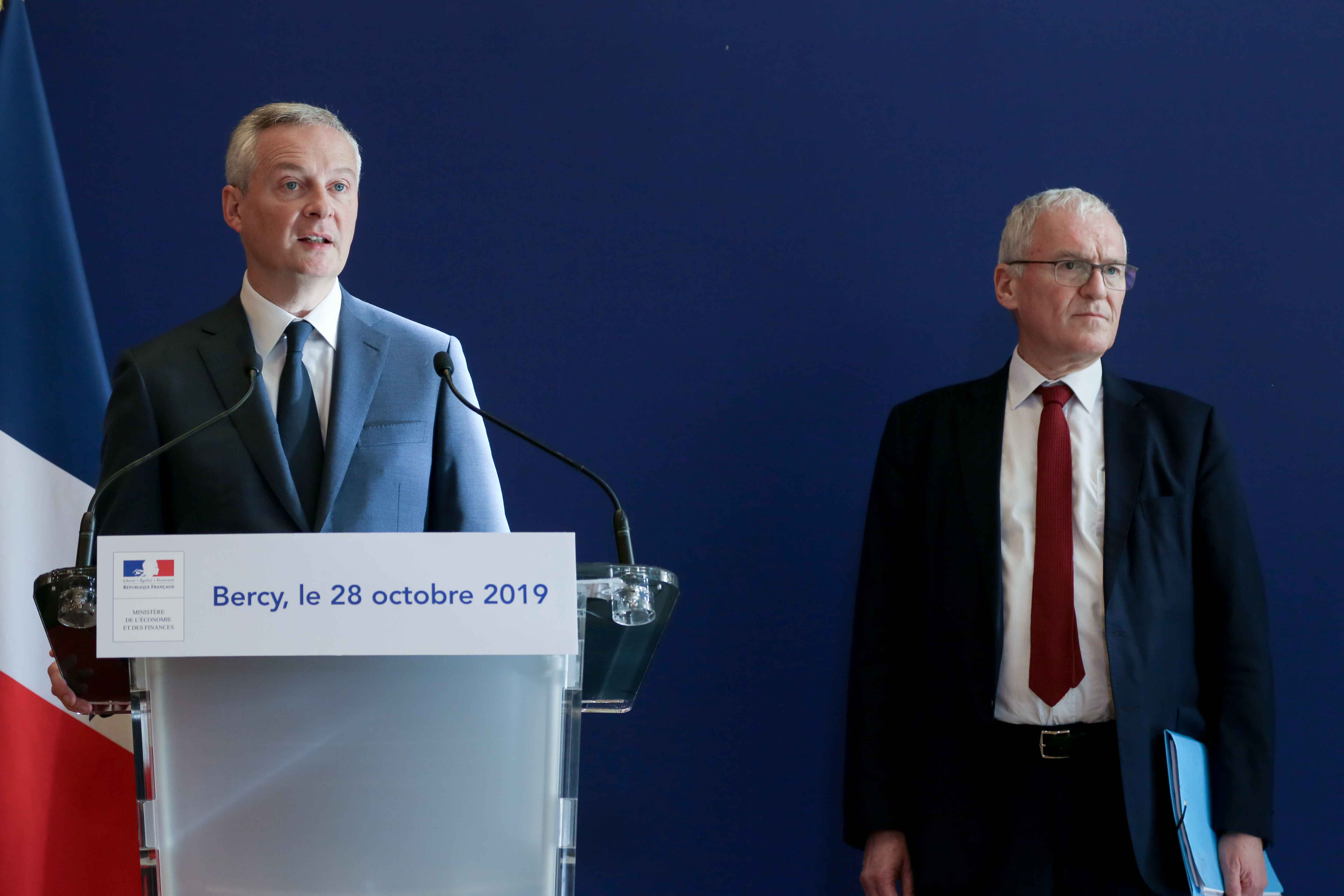 (From L to R) French Finance and Economy Minister Bruno Le Maire and French energy giant EDF's CEO Jean-Bernard Levy give a joint press conferencein Folz and French eneregy giant EDF's CEO Jean-Bernard Levy to present a report  concerning the construction
