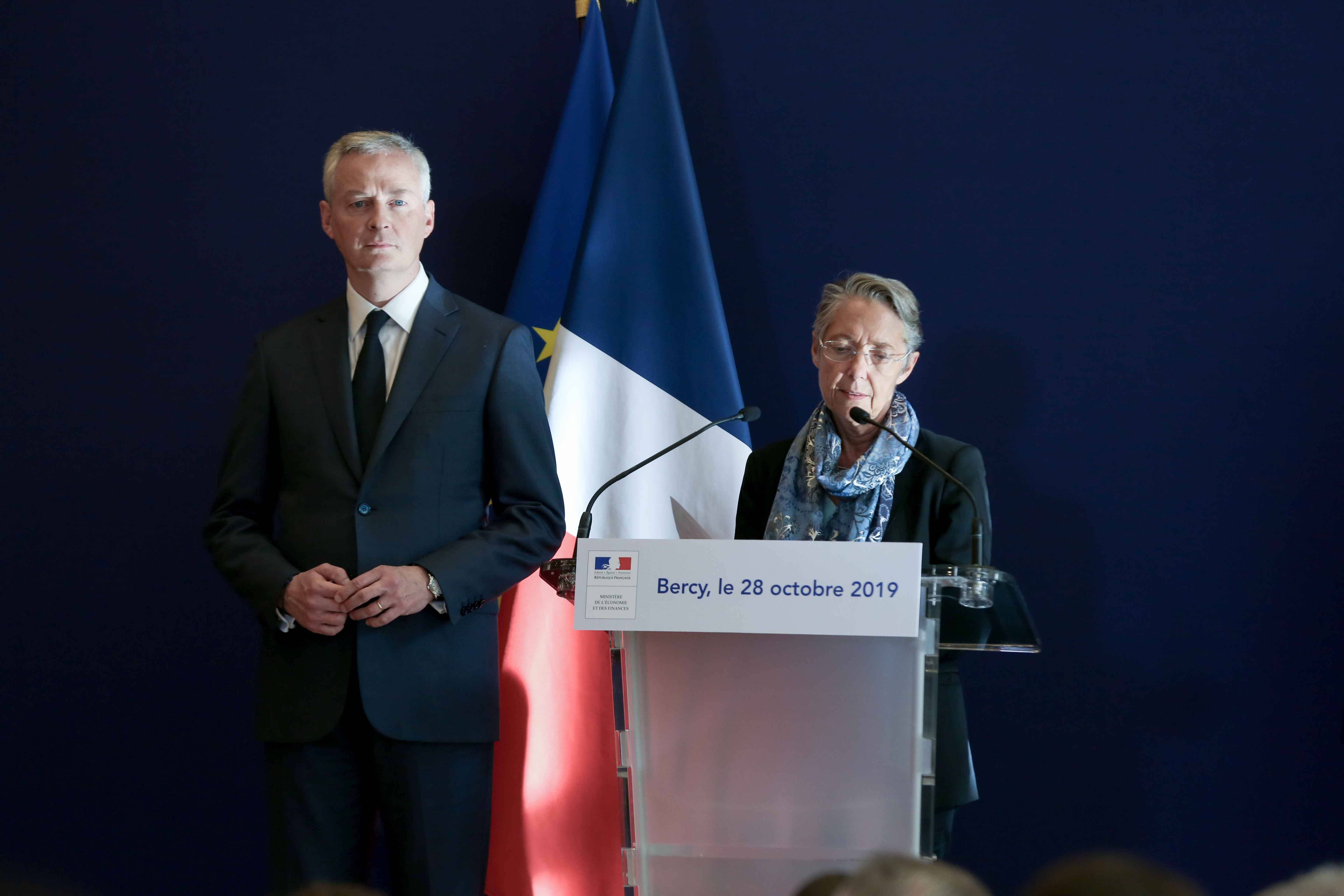 (From L to R) French Finance and Economy Minister Bruno Le Maire and French Minister for the Ecological and Inclusive Transition Elisabeth Borne give a joint press conference to present a report concerning the construction of the EPR at the Flamanville nuc
