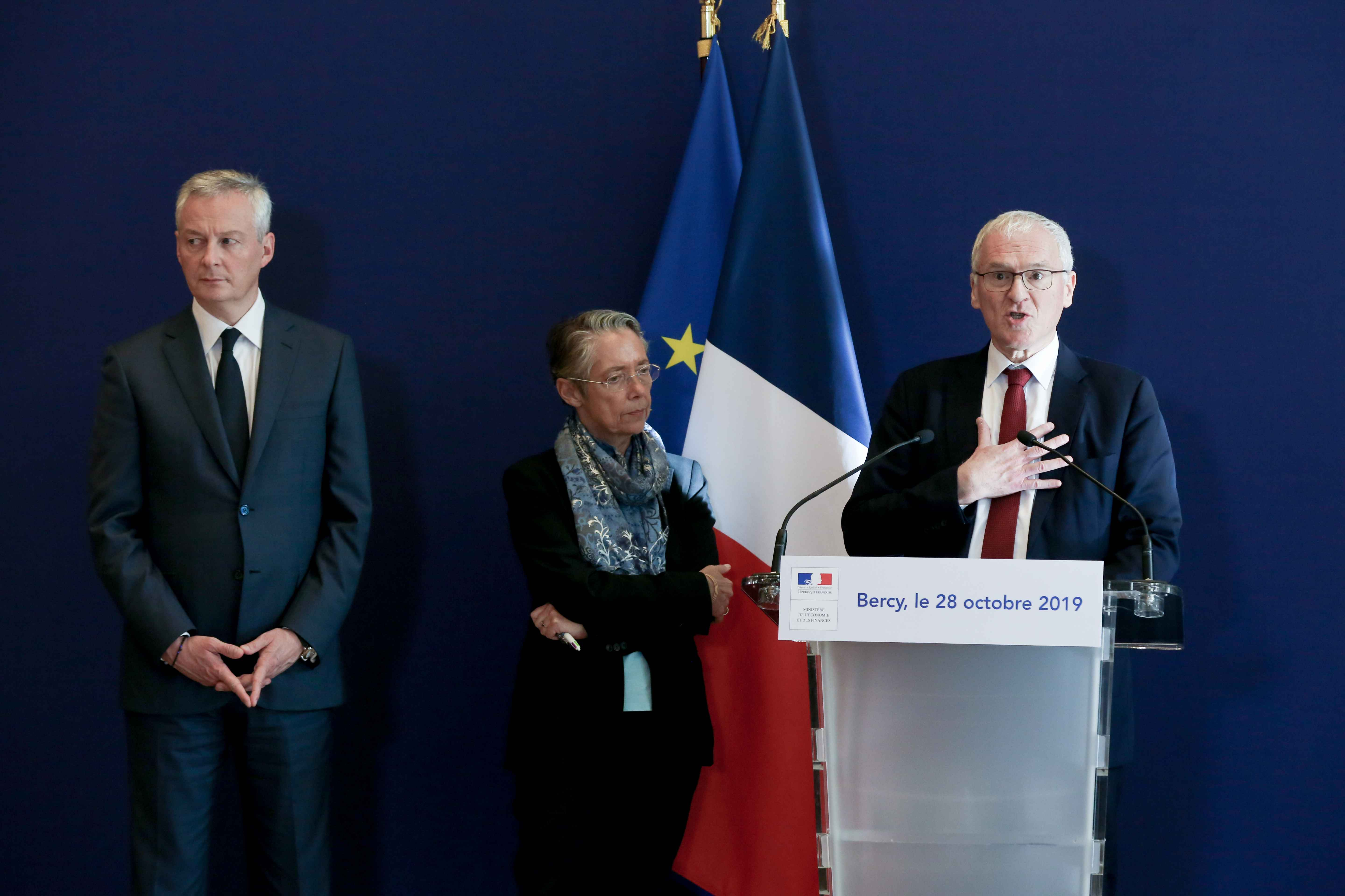 (From L to R) French Finance and Economy Minister Bruno Le Maire, French Minister for the Ecological and Inclusive Transition Elisabeth Borne and French energy giant EDF's CEO Jean-Bernard Levy  give a joint press conference to present a report concerning
