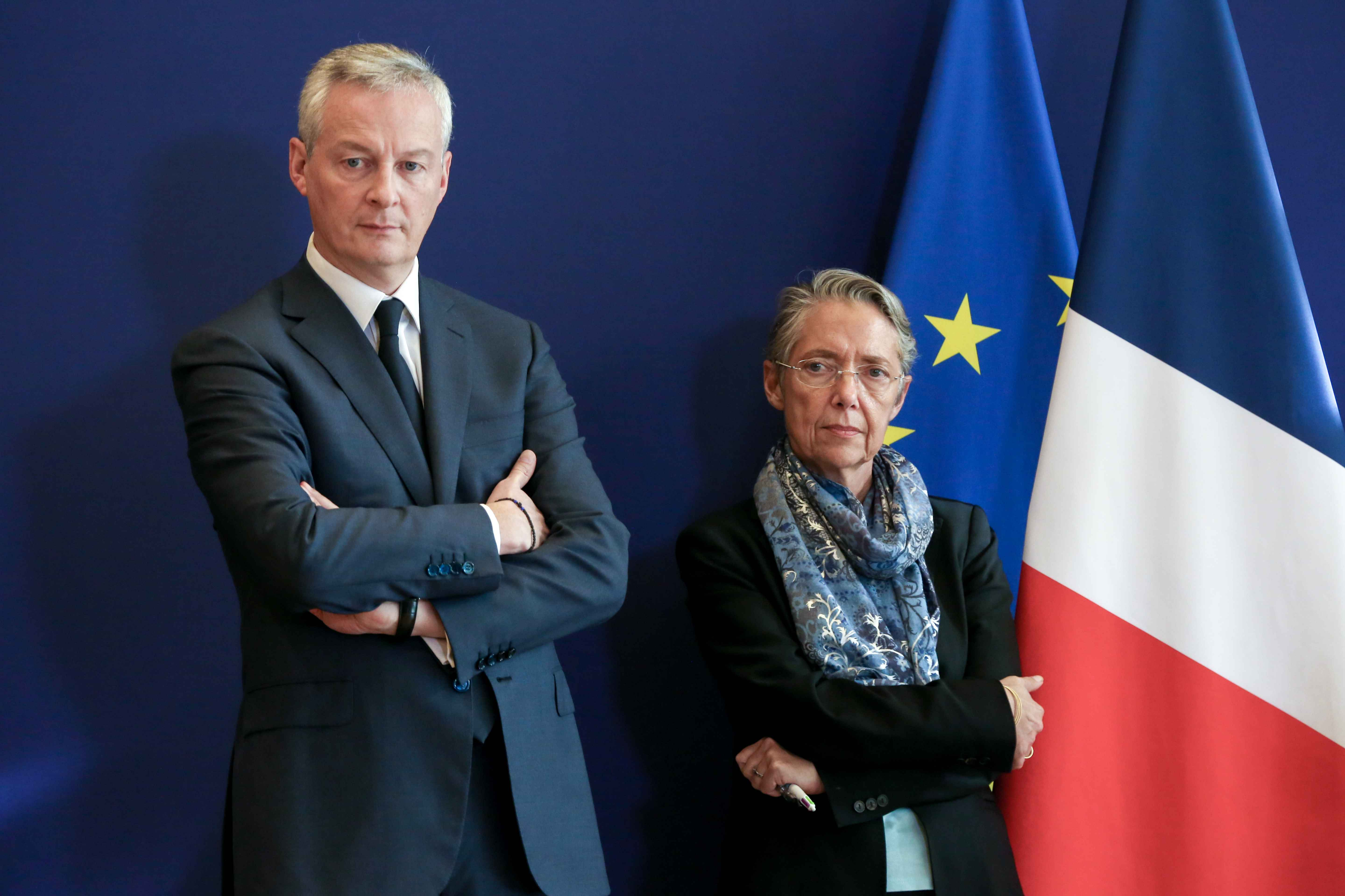 (From L to R) French Finance and Economy Minister Bruno Le Maire and French Minister for the Ecological and Inclusive Transition Elisabeth Borne give a press conference to present a report concerning the construction of the EPR at the Flamanville nuclear p