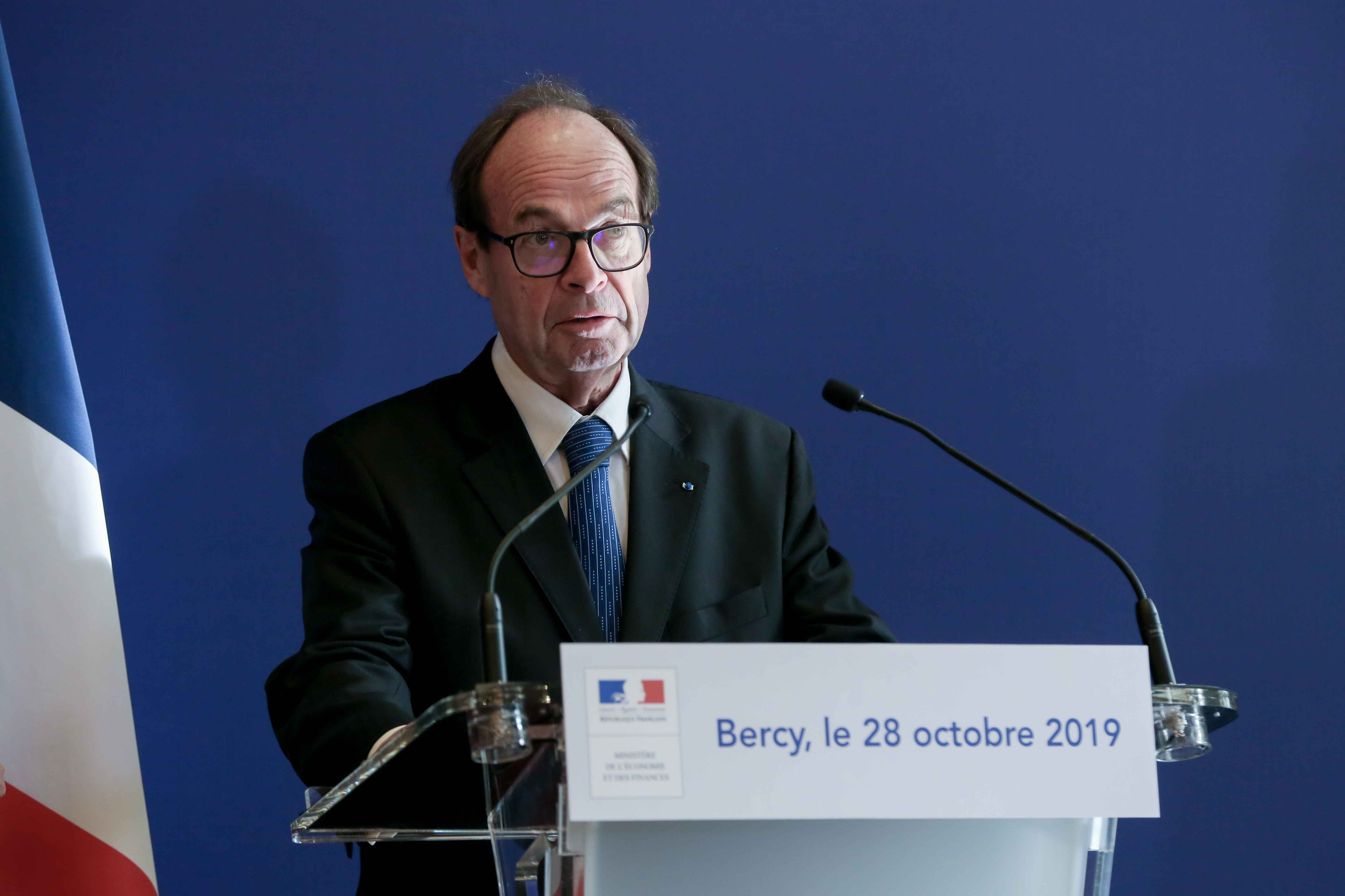 Report head Jean-Martin Folz give a press conference to present his report concerning the construction of the EPR at the Flamanville nuclear plant, at the ministry of Economy, in Paris, on OctAND ober 28, 2019.