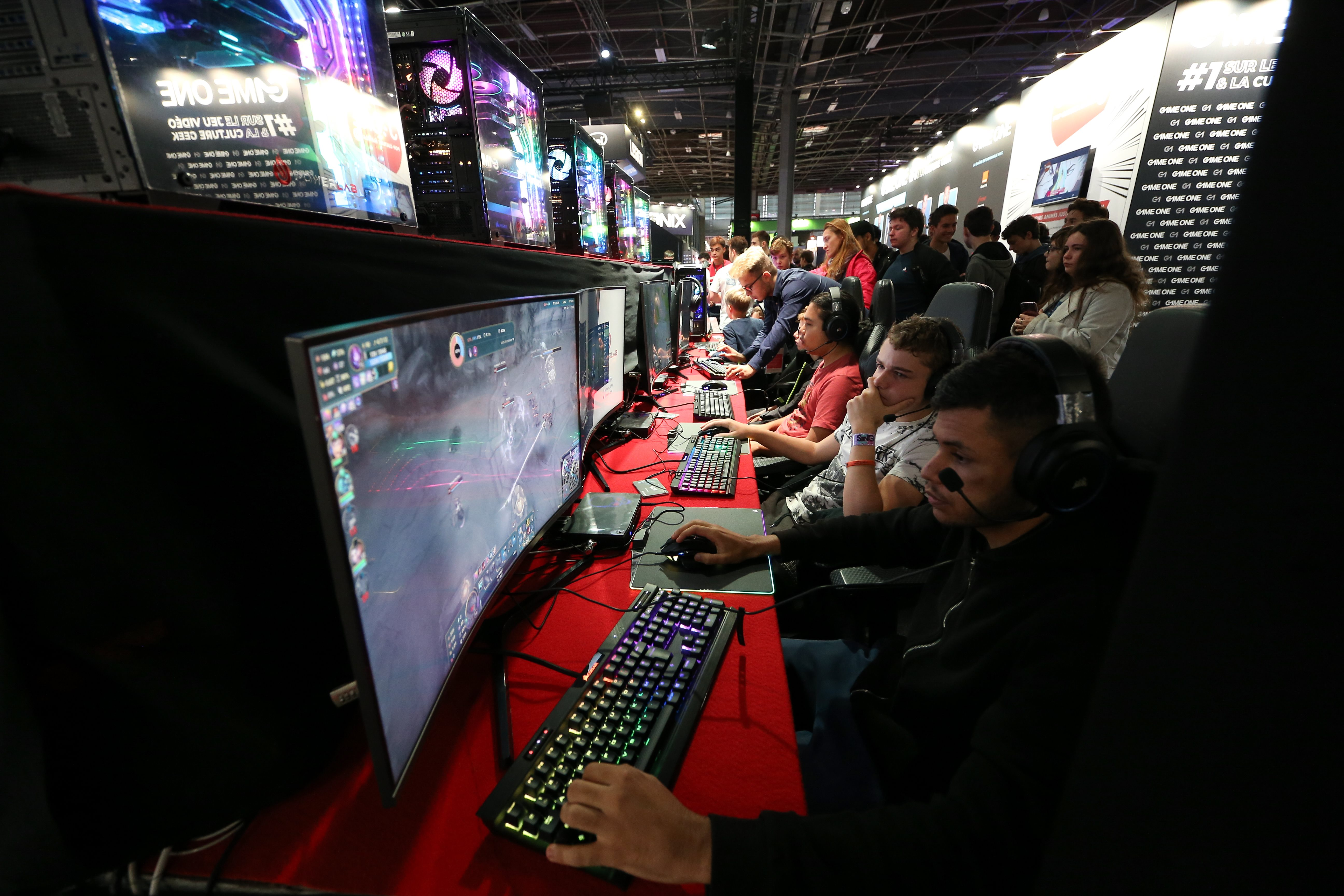 Picture taken on October 30, 2019, during the 10th edition of the Paris Games Week, a video game show in France organized by the S.E.L.L. (Union of Publishers of Leisure Software). Ranked in the top 3 international video gaming shows, this annual event wel