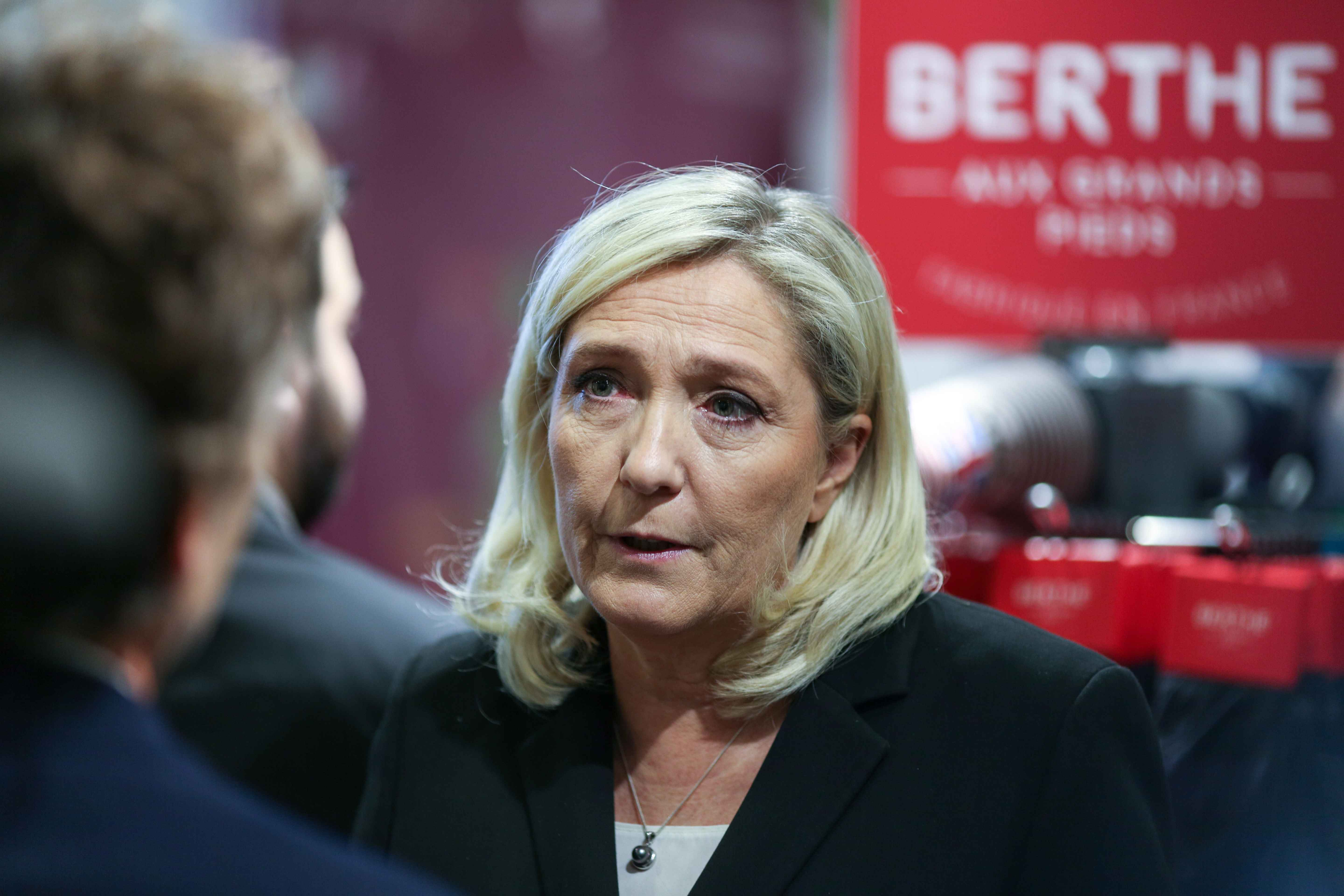 French far-right Rassemblement National (RN) party's president and MP Marine Le Pen visits the Made in France Fair, on November 9, 2019, at the Porte de Versailles, in Paris.