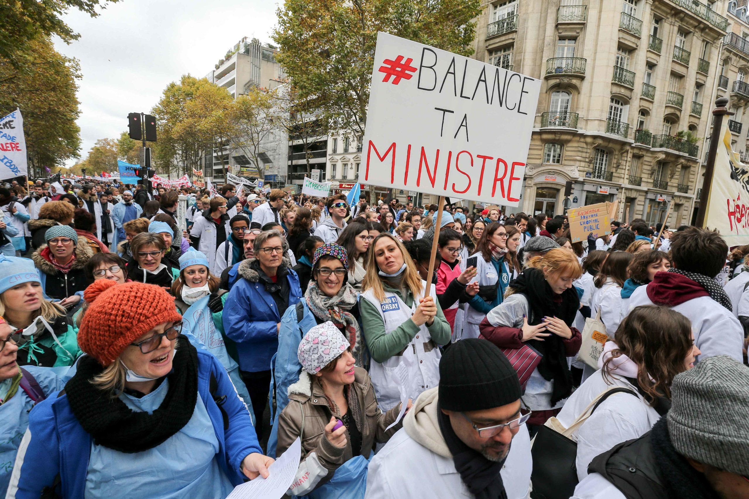 "Professionnals from french public hospitals took to the streets in Paris on November 14, 2019, for another day of action as part of a nationwide day of protest calling for an ""emergency plan for public hospitals"". Many sectors of hospital services, emergen"