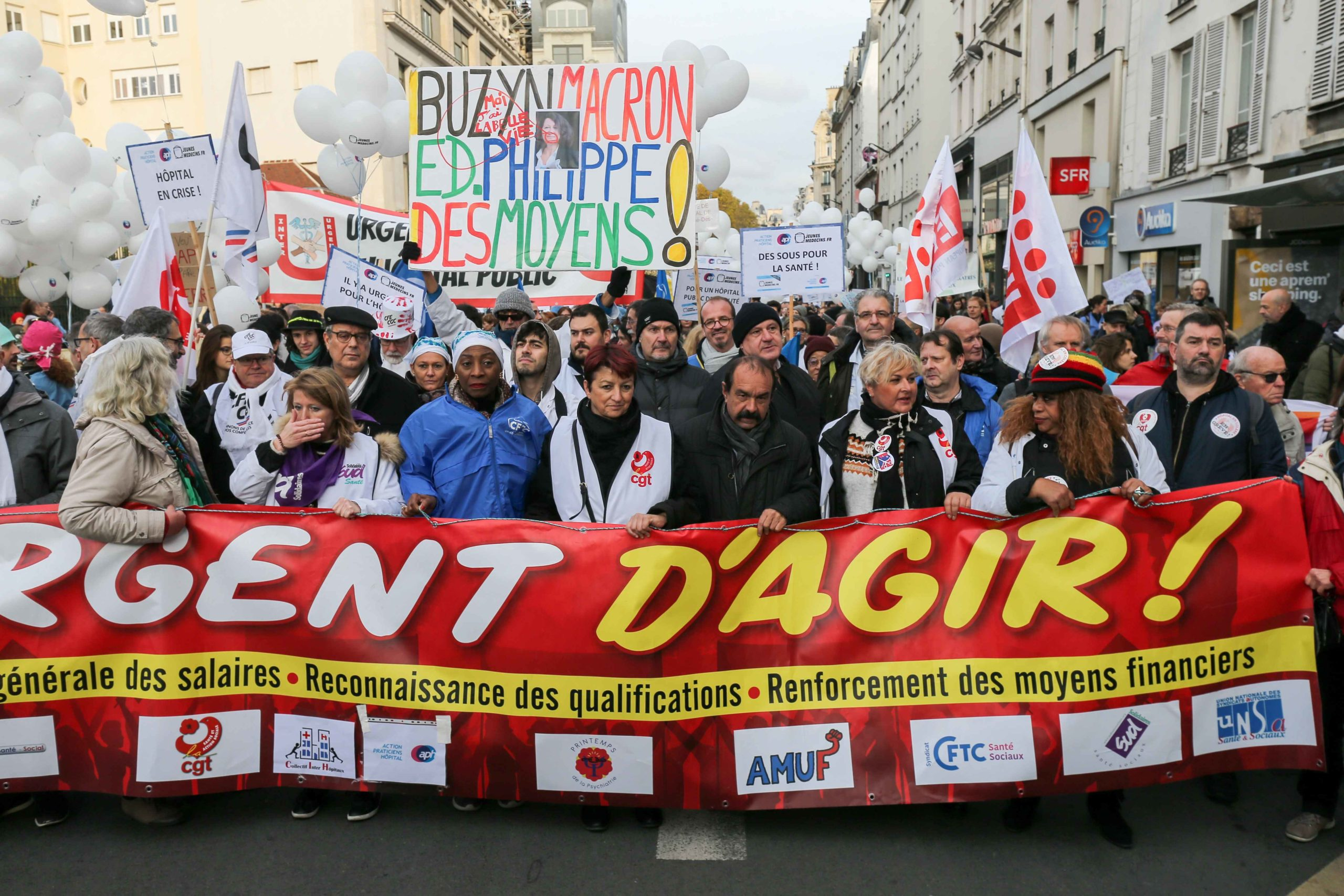 "CGT general secretary Philippe Martinez (4R) takes part in a demonstration of professionnals from french public hospitals in Paris on November 14, 2019, for another day of action as part of a nationwide day of protest calling for an ""emergency plan for pub"