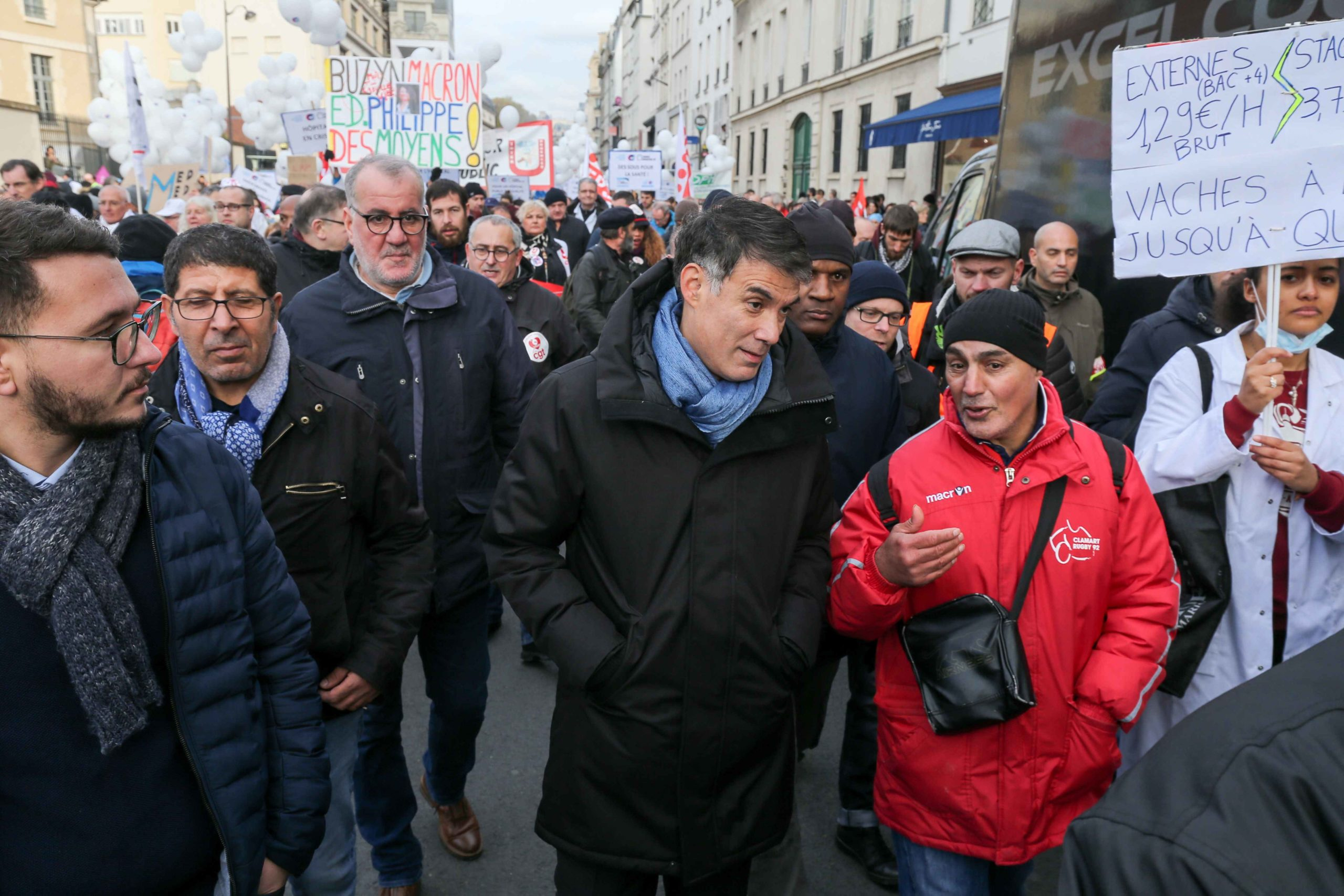 First secretary of the French Socialist Party (PS) Olivier Faure (3R) takes part in a demonstration of professionnals from french public hospitals in Paris on November 14, 2019, for another day of action as part of a nationwide day of protest calling for a