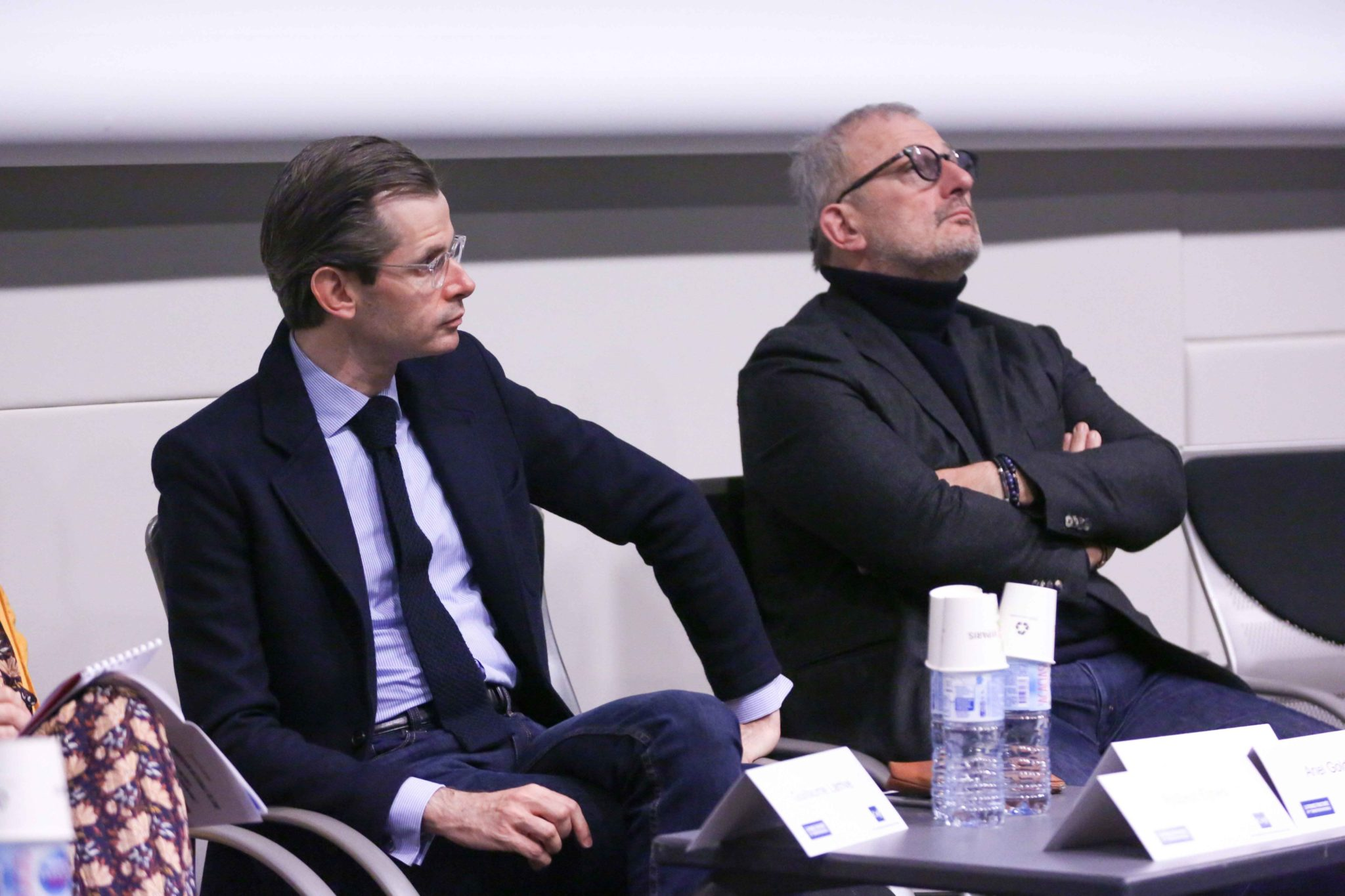 French right-wing Les Republicains (LR) party member of Parliament and candidate to the party presidency Guillaume Larrive Guillaume Larrivé (L) and French Member of Parliament of the Libertes et Territoires parliamentary group  François Pupponi (R) take
