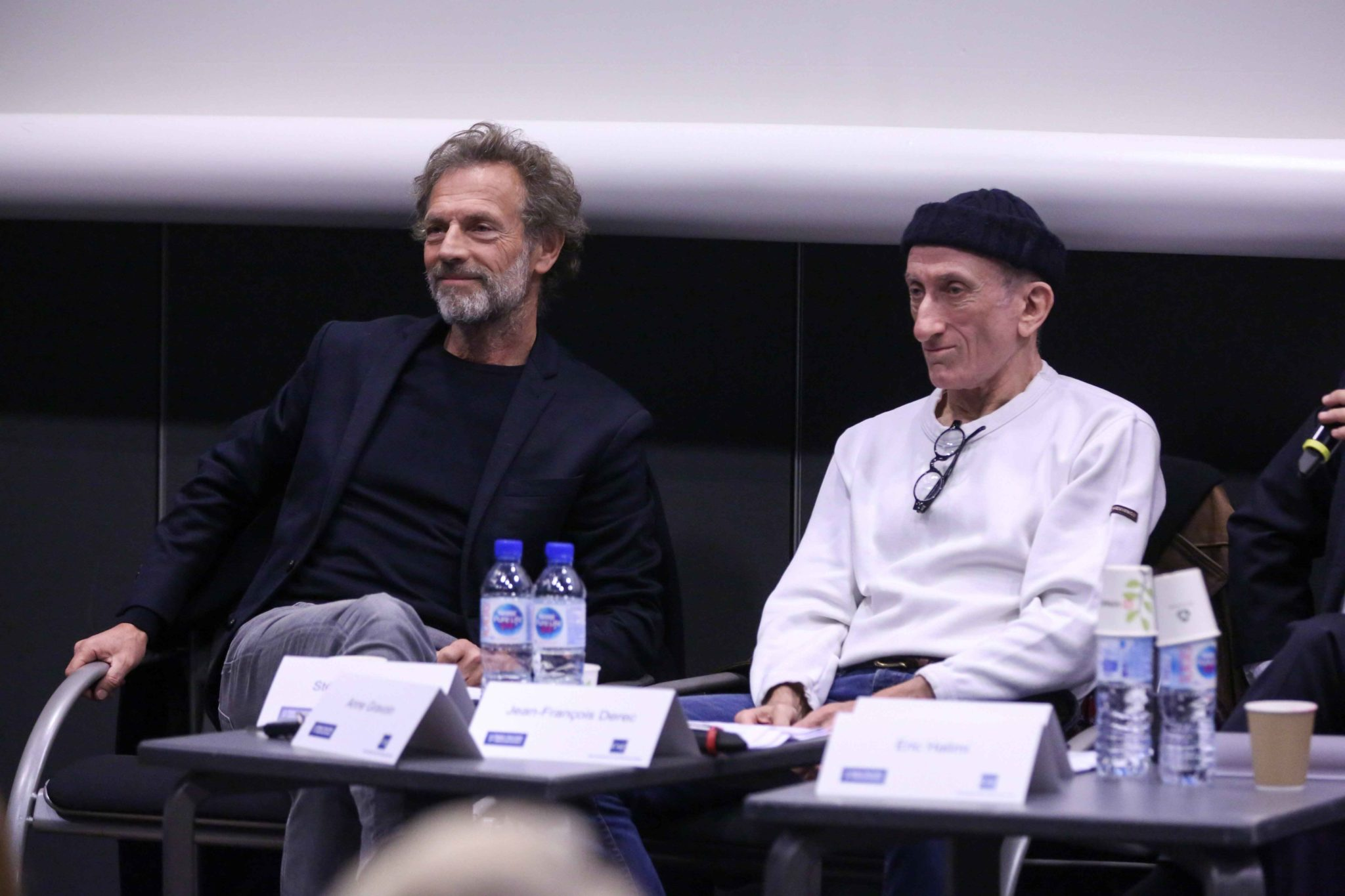 French comedian Jean-François Derec (R) and French actor Stéphane Freiss (L) take part part in the 10th national convention of the Representative Council of Jewish Institutions of France (CRIF - Conseil Representatif des Institutions juives de France) on