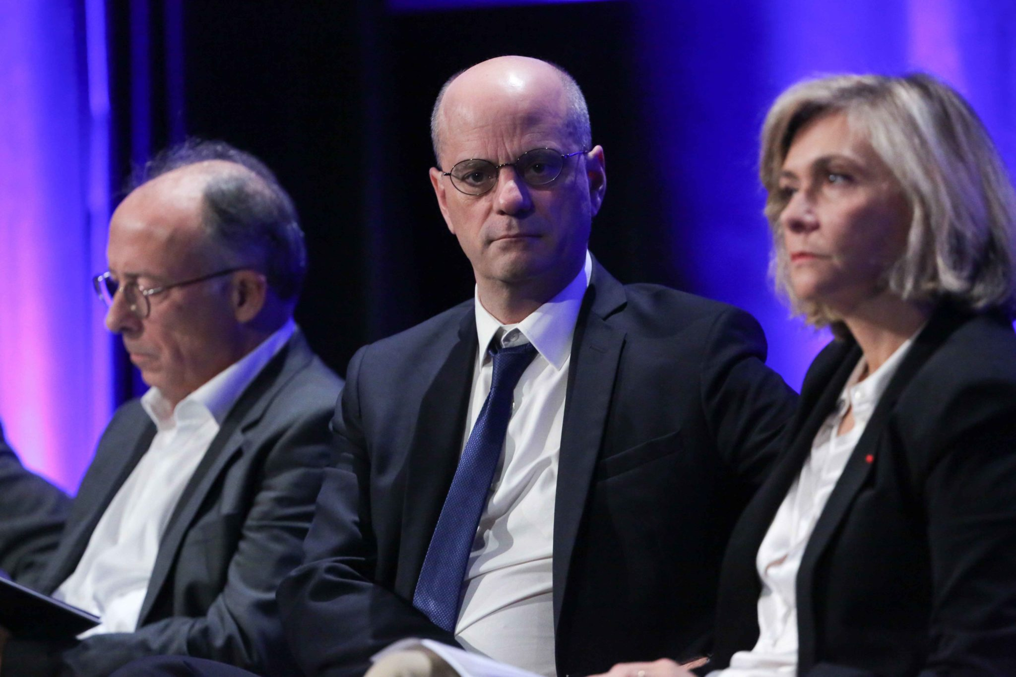 "French journalist of ""Le Figaro"", French daily newspaper, Yves Thréard (L), French Education and Youth Affairs Minister Jean-Michel Blanquer (C), President of French Ile-de-France region Valérie Pécresse (R) take part in the 10th national convention of"