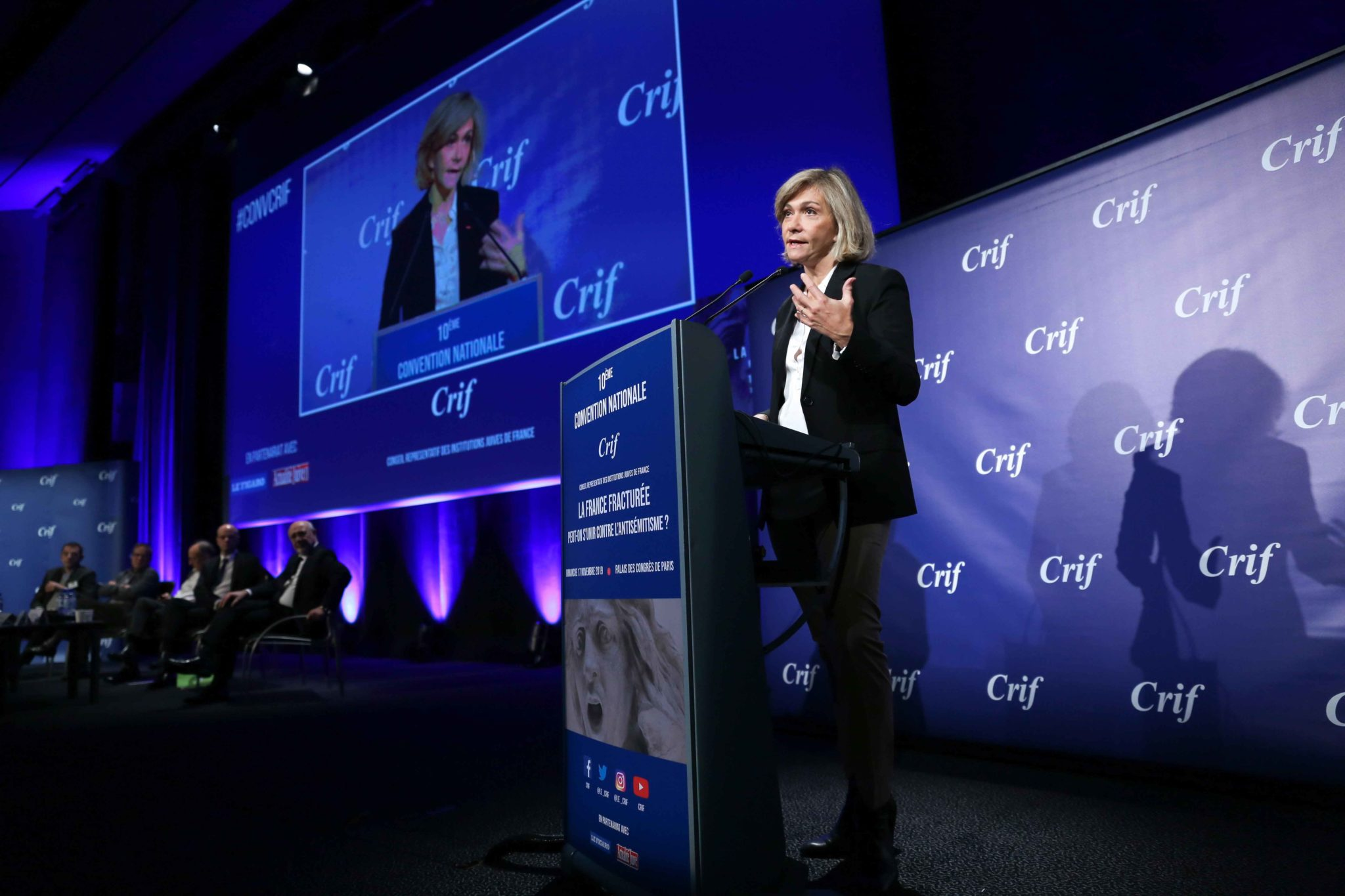 President of French Ile-de-France region Valérie Pécresse (C) takes part in the 10th national convention of the Representative Council of Jewish Institutions of France (CRIF - Conseil Representatif des Institutions juives de France) on November 17, 2019,