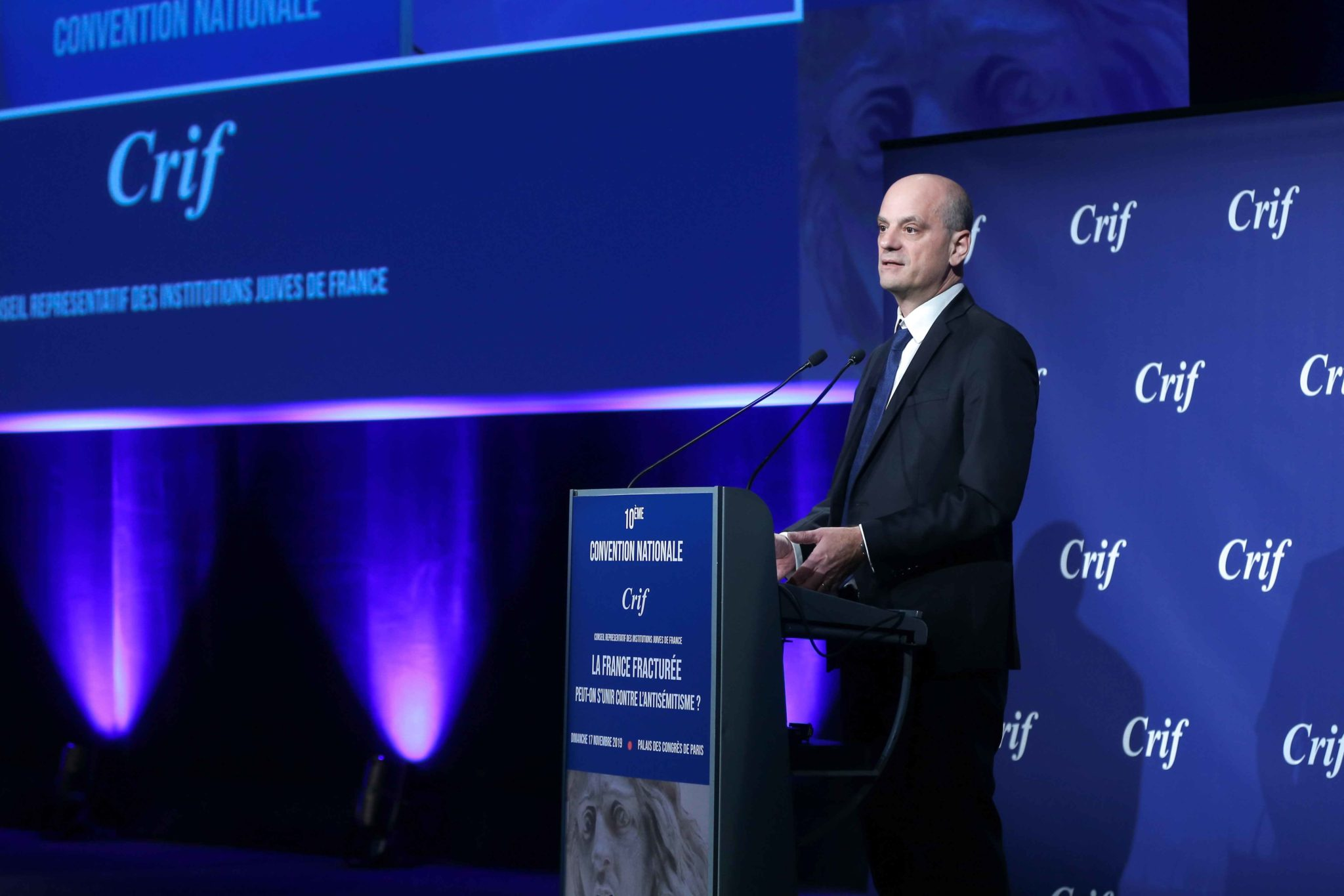 French Education and Youth Affairs Minister Jean-Michel Blanquer (C) takes part in the 10th national convention of the Representative Council of Jewish Institutions of France (CRIF - Conseil Representatif des Institutions juives de France) on November 17,