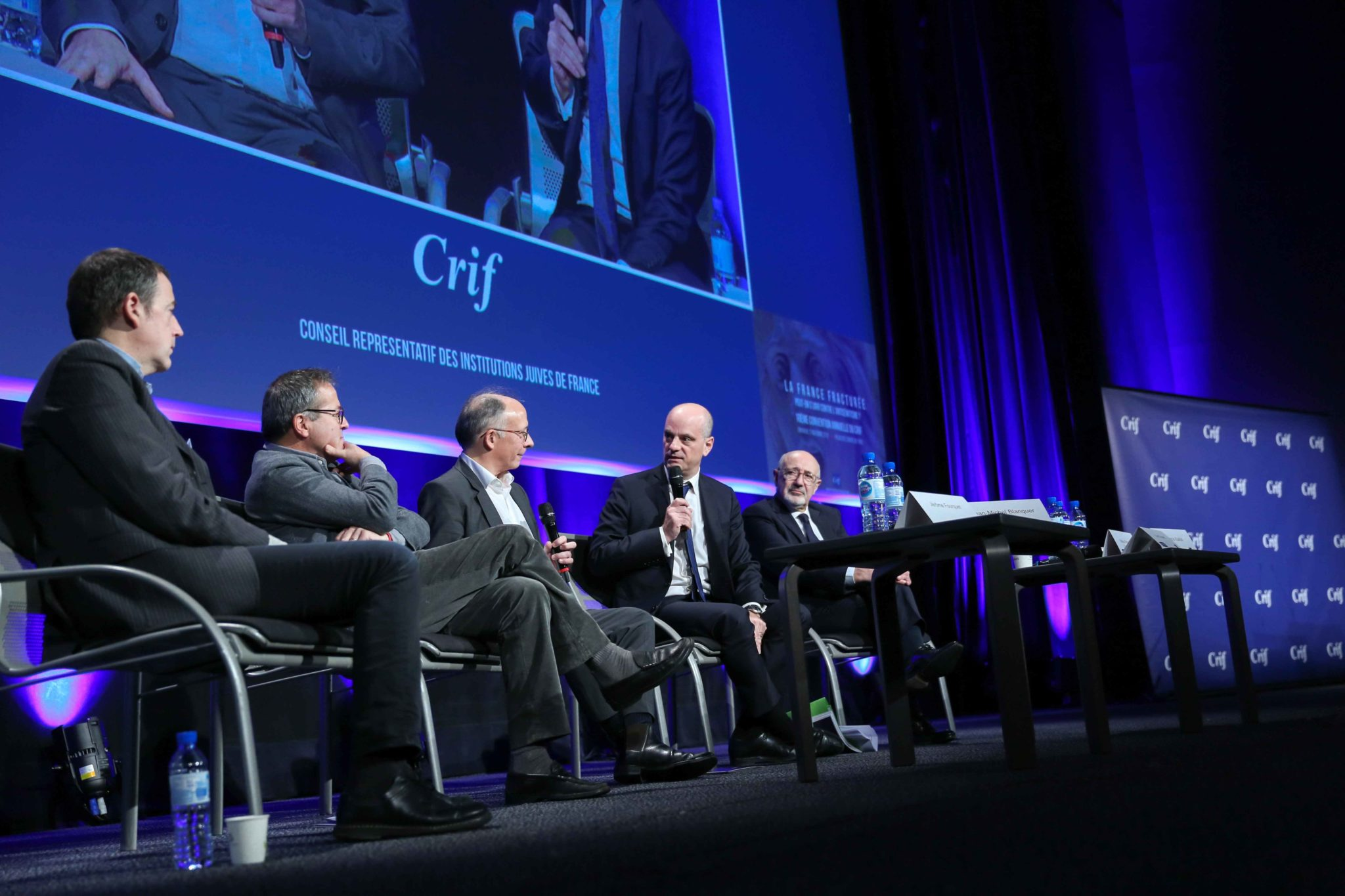 "Director of Paris' public assistance hospitals AP-HP Martin Hirsch (2L), French journalist of ""Le Figaro"", French daily newspaper, Yves Thréard (3L) and French Education and Youth Affairs Minister Jean-Michel Blanquer (4L) take part in the 10th national c"