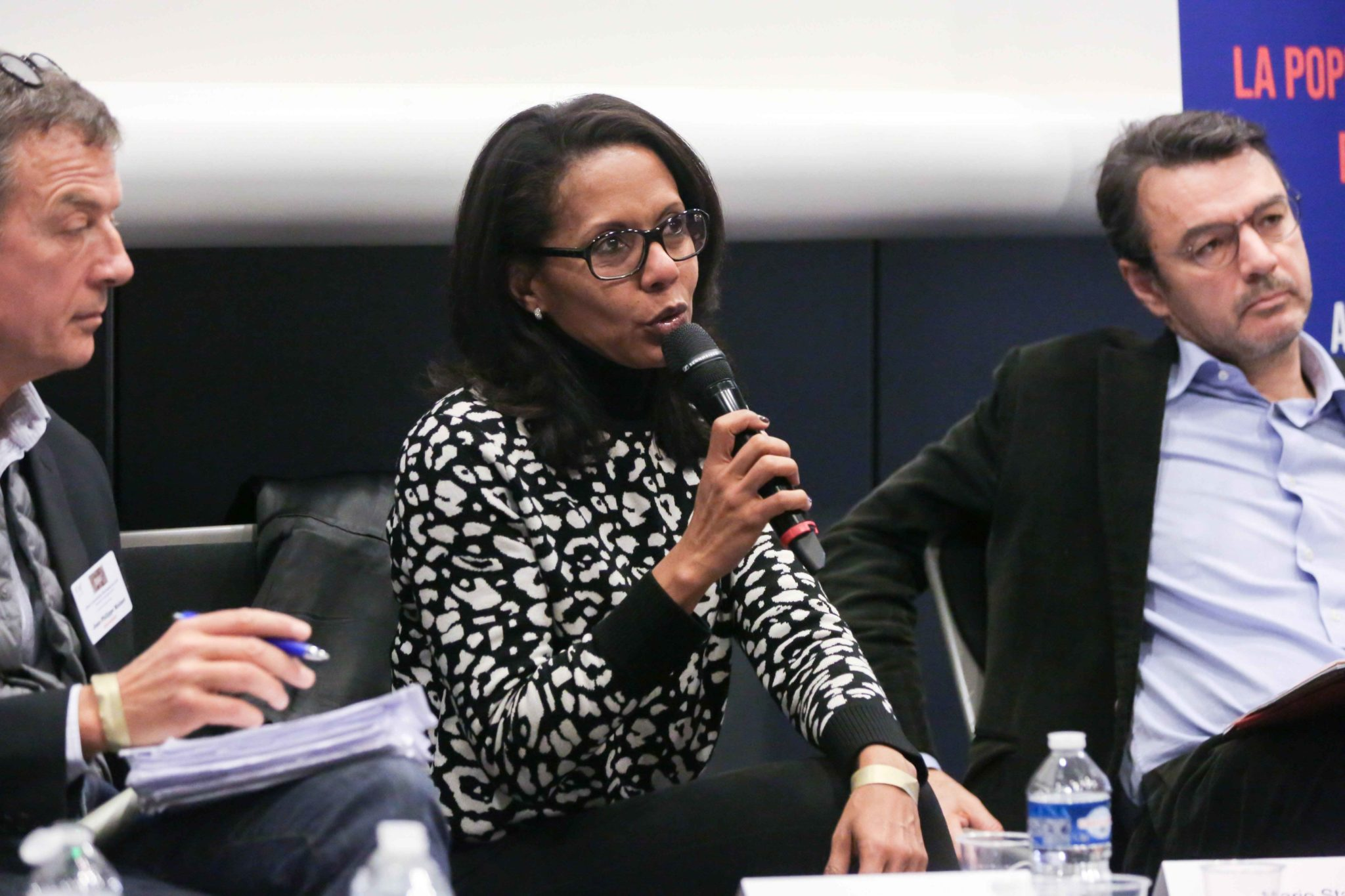 French journalist Audrey Pulvar (R) takes part in the 10th national convention of the Representative Council of Jewish Institutions of France (CRIF - Conseil Representatif des Institutions juives de France) on November 17, 2019, at Le Palais des Congres in