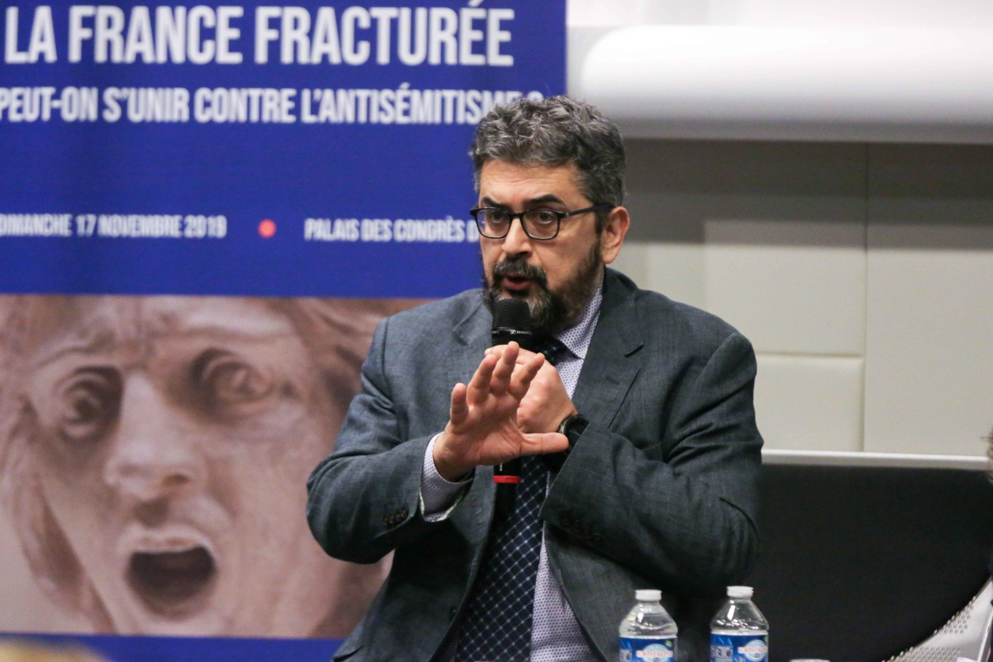 "French Algerian journalist  co-author of the book ""Mon frère ce terroriste"" (My brother this terrorist)  Mohamed Sifaoui takes part in the 10th national convention of the Representative Council of Jewish Institutions of France (CRIF - Conseil Representati"