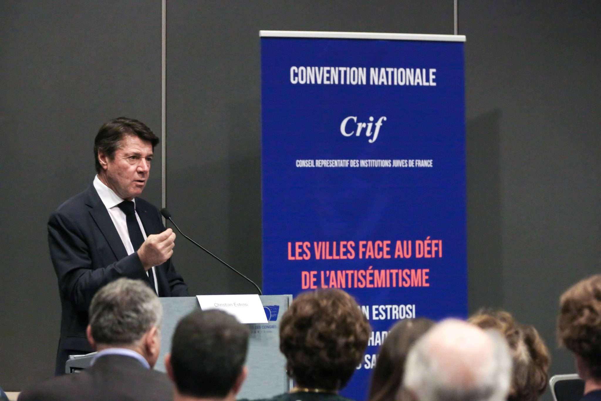Mayor of the southern Frency city of Nice Christian Estrosi takes part in the 10th national convention of the Representative Council of Jewish Institutions of France (CRIF - Conseil Representatif des Institutions juives de France) on November 17, 2019, at